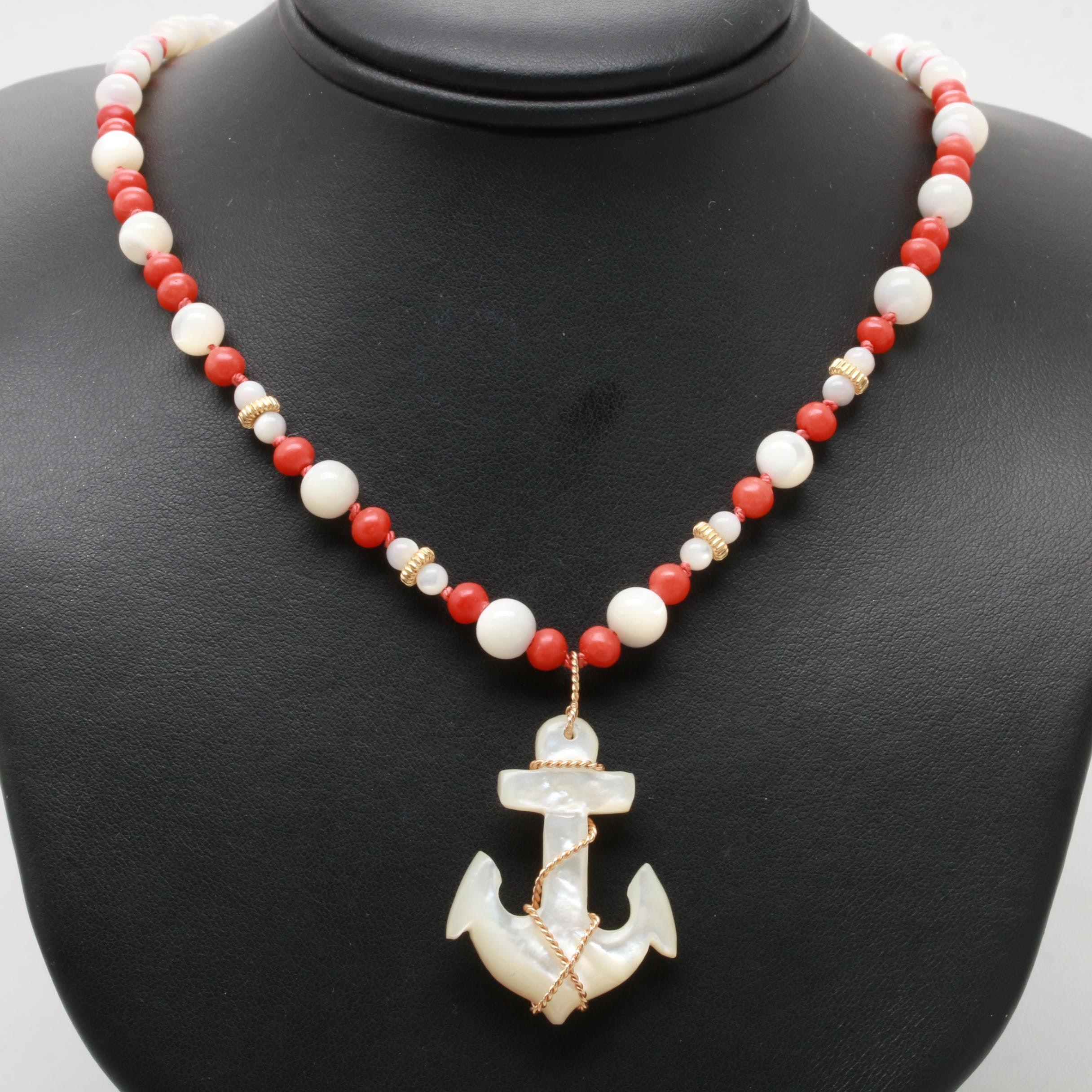 14K Yellow Gold Coral, Shell, and Mother of Pearl Anchor Necklace