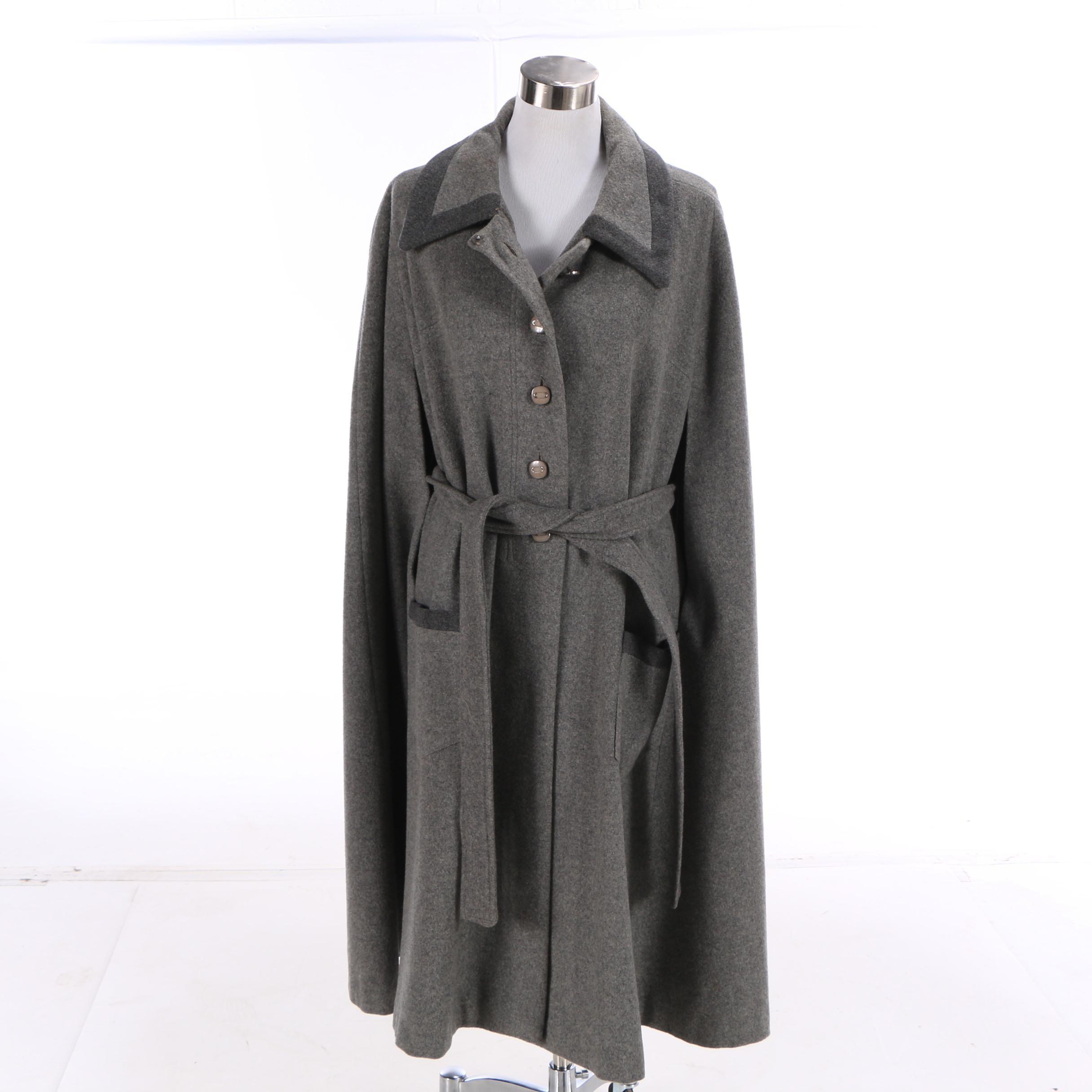 Women's 1960s Vintage Kapmoor New York Grey Wool Belted Cape