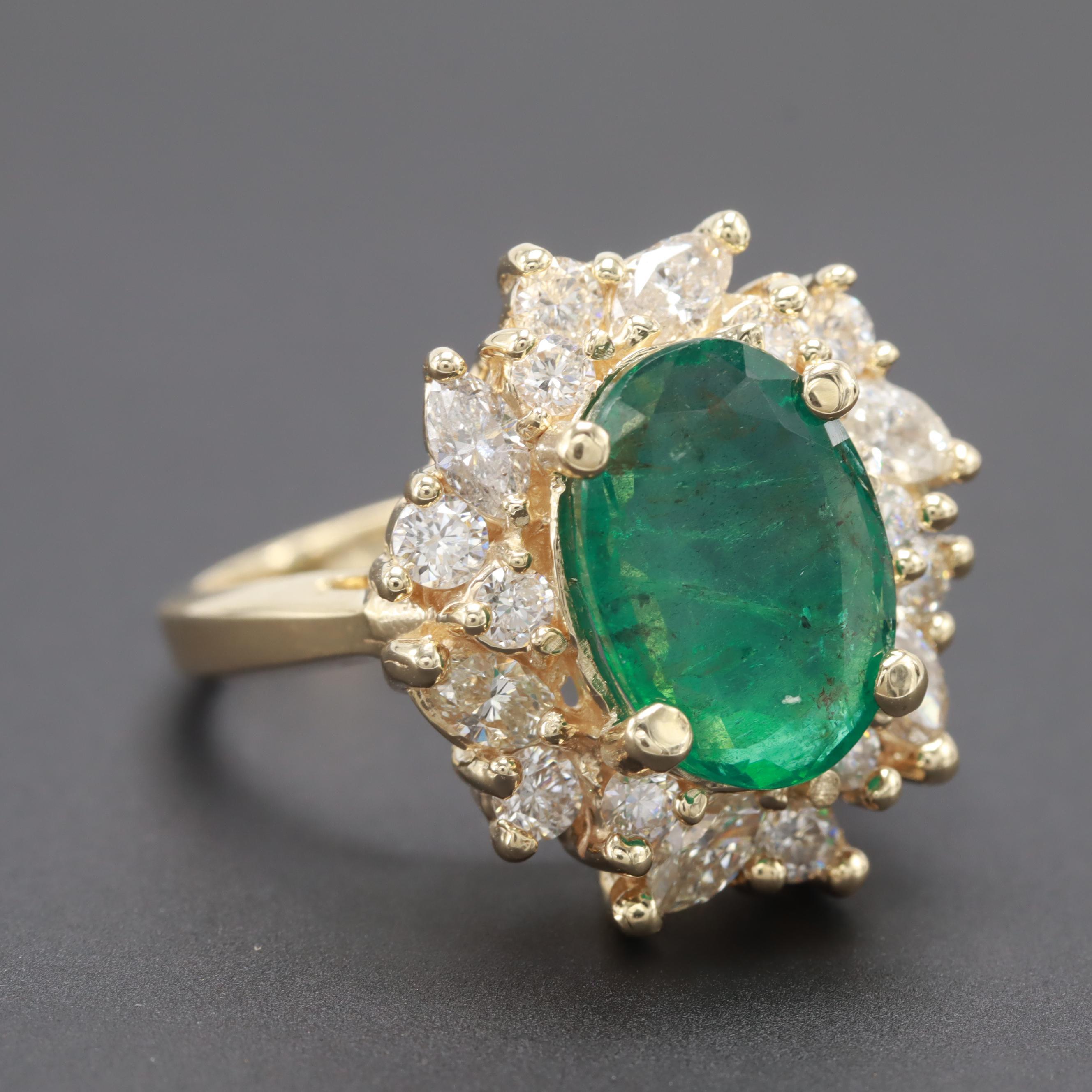 14K Yellow Gold 2.28 CT Emerald and 1.48 CTW Diamond Ring