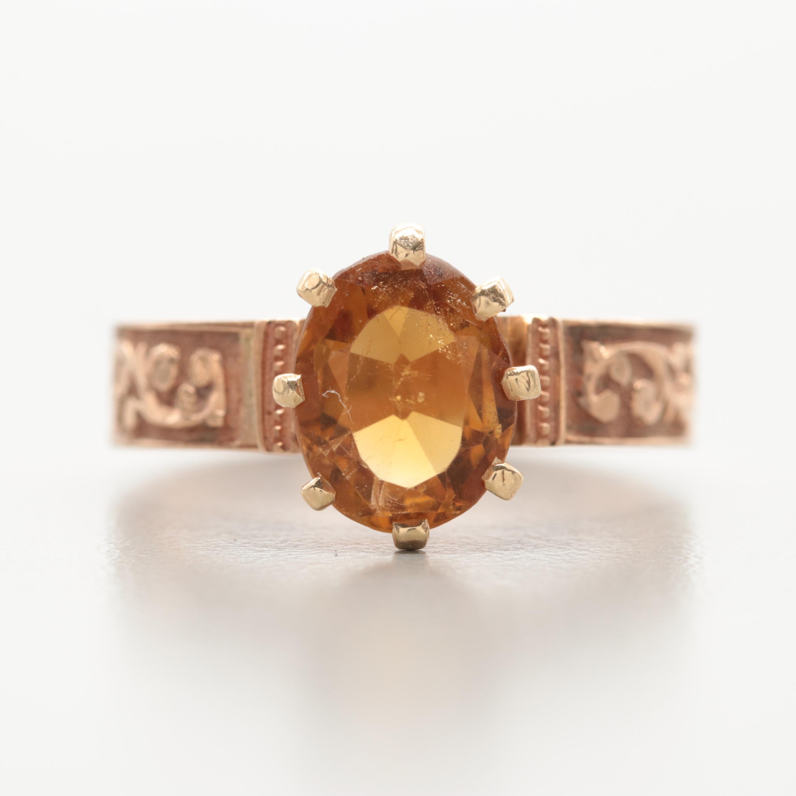 Late Victorian 14K Yellow Gold Citrine Ring
