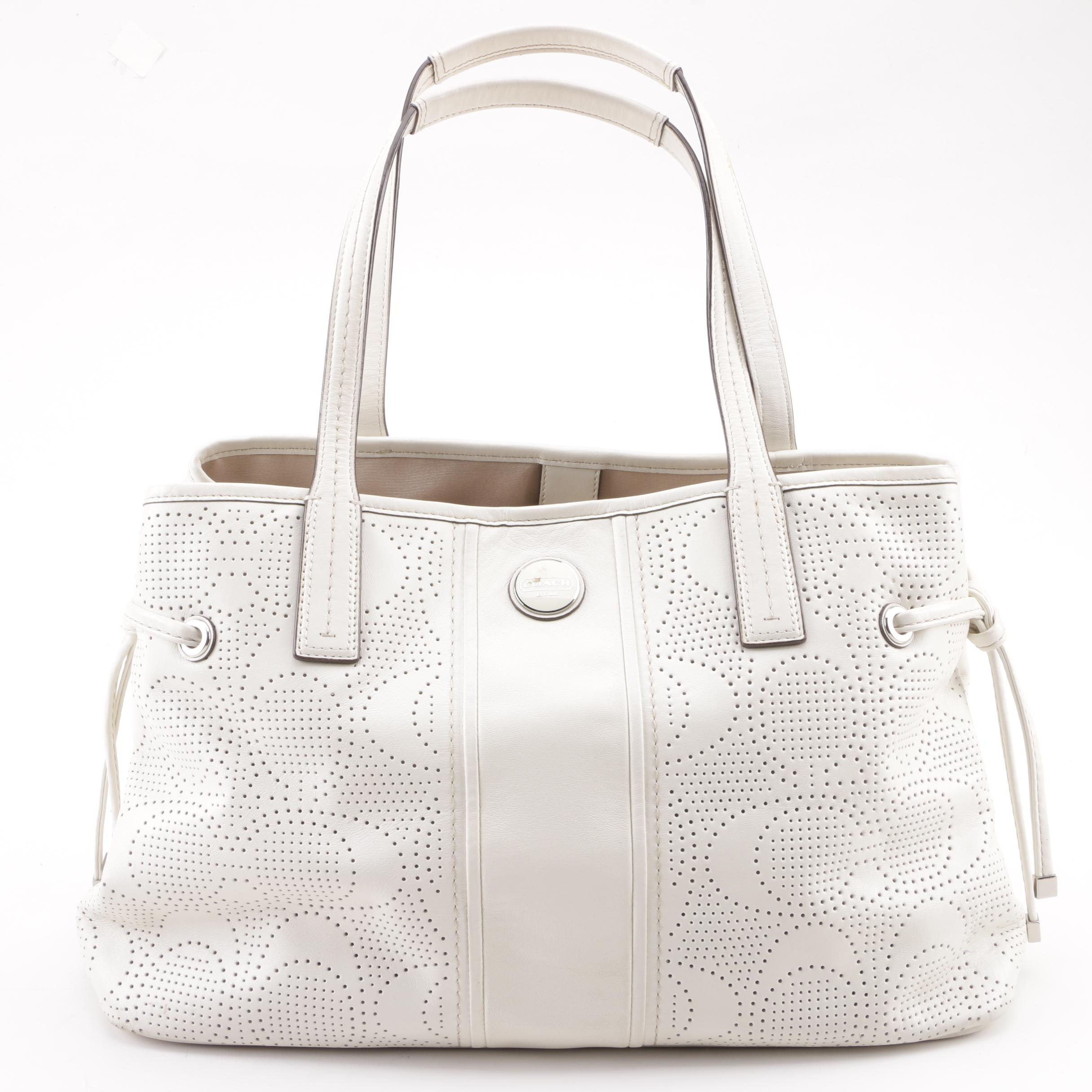 Coach Off-White Signature Stripe Perforated Leather Carryall