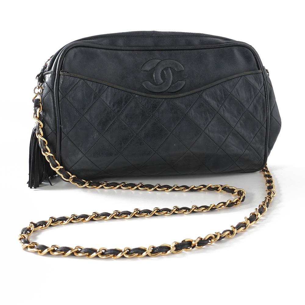 Chanel Quilted Black Leather Shoulder Bag