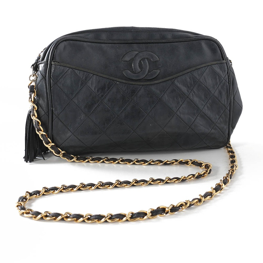 Chanel Quilted Black Leather Shoulder Bag   EBTH 1ee248d4a6e88