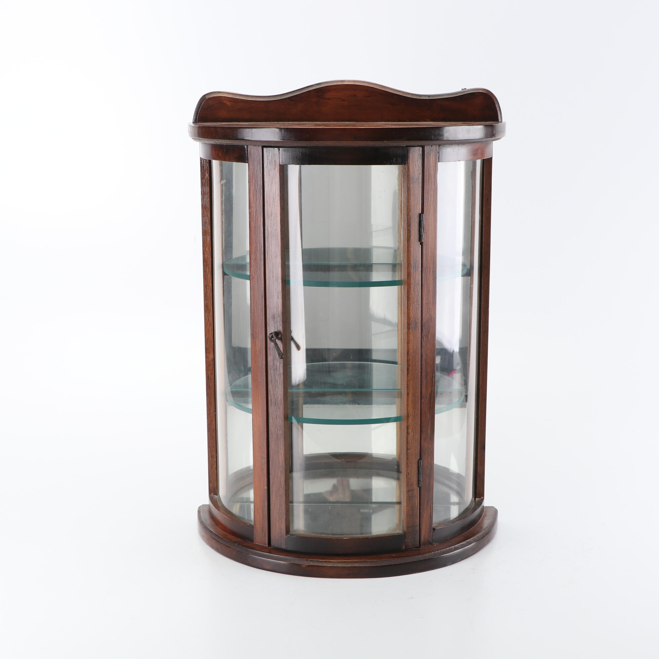 Wood and Glass Wall Mount Curio Cabinet, Mid/Late 20th Century