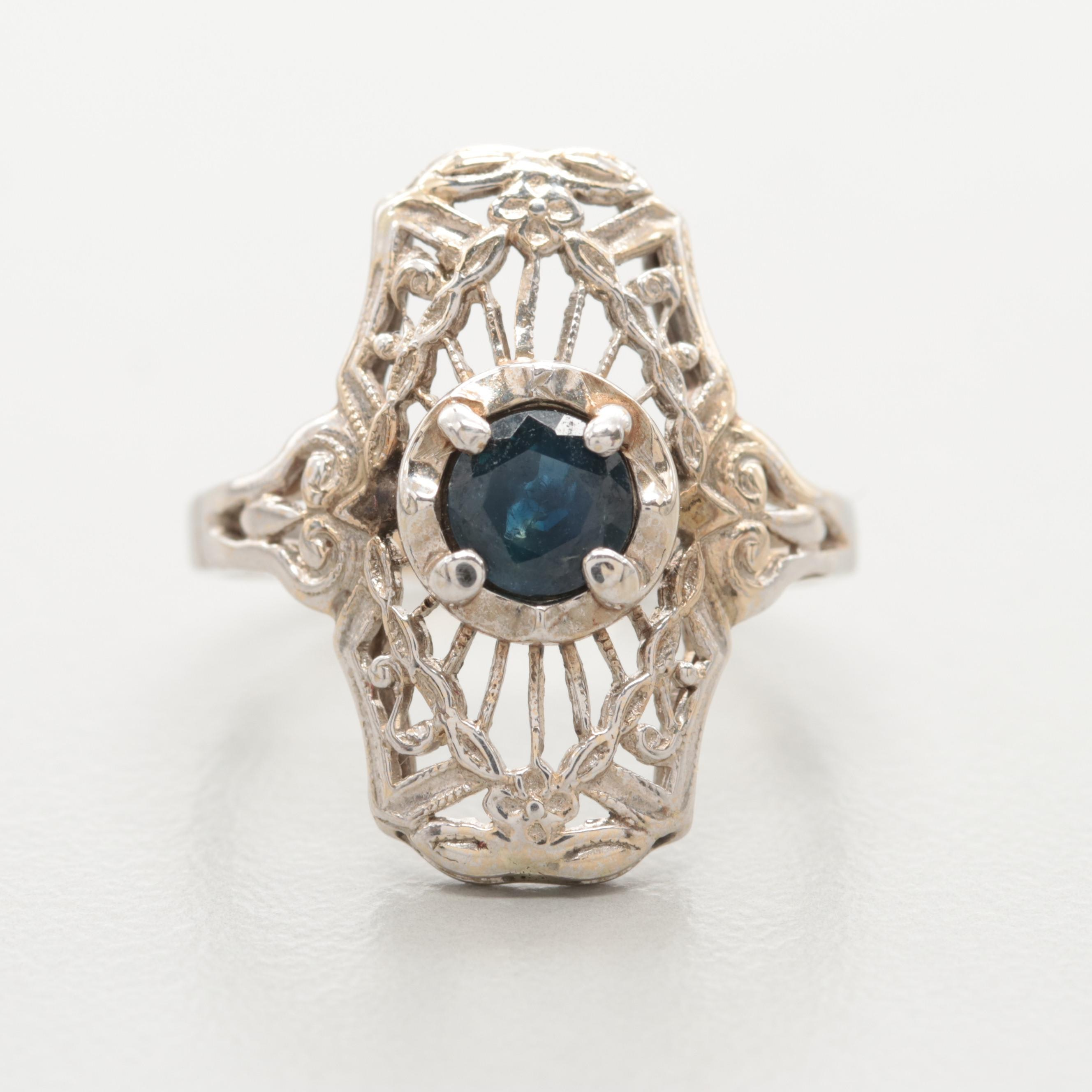 Edwardian 14K White Gold Blue Sapphire Ring