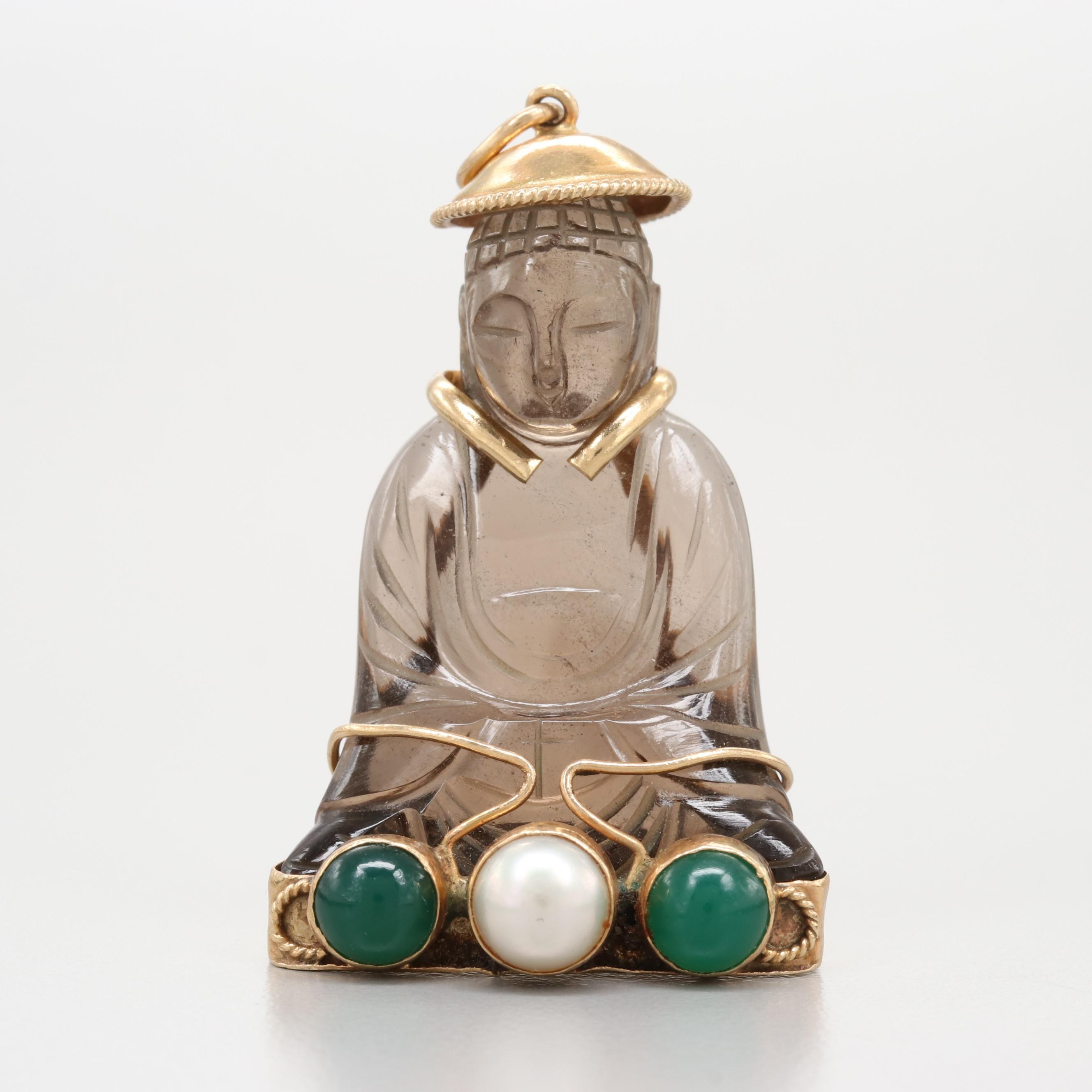 14K Yellow Gold Pendant with Seated Buddha Smoky Quartz and Gemstone Accents