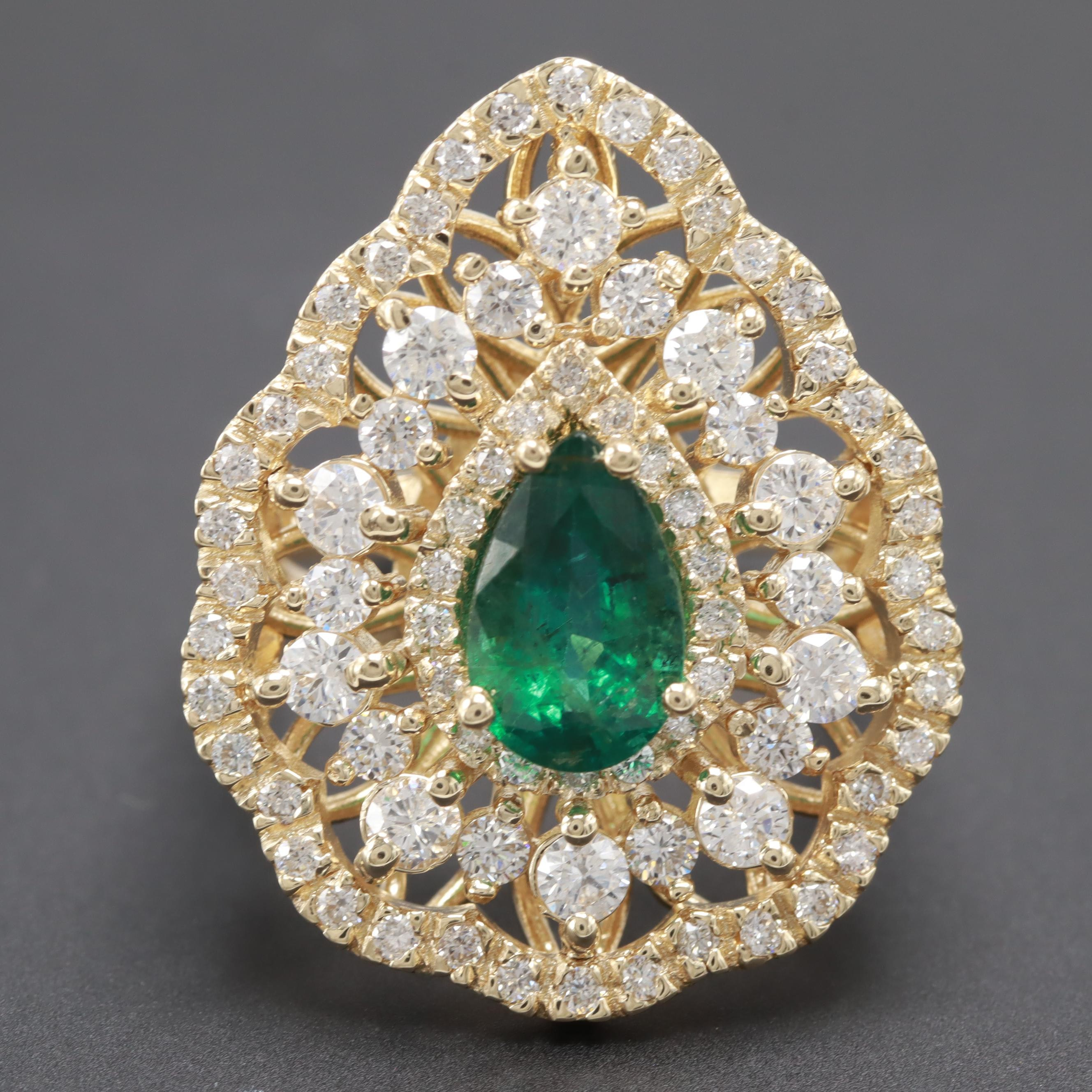 14K Yellow Gold 1.51 CT Emerald and 1.50 CTW Diamond Ring