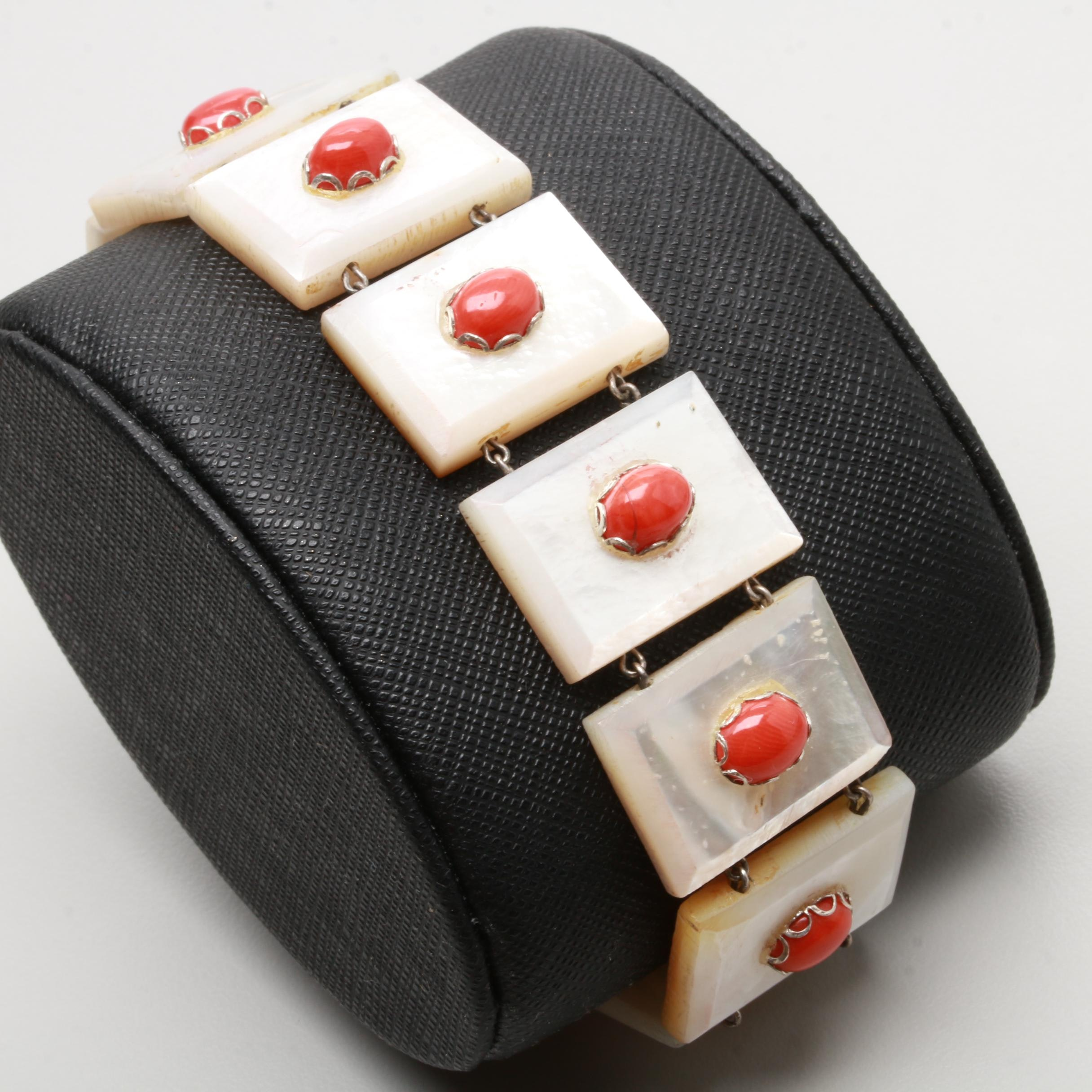Sterling Silver Coral and Mother of Pearl Panel Bracelet