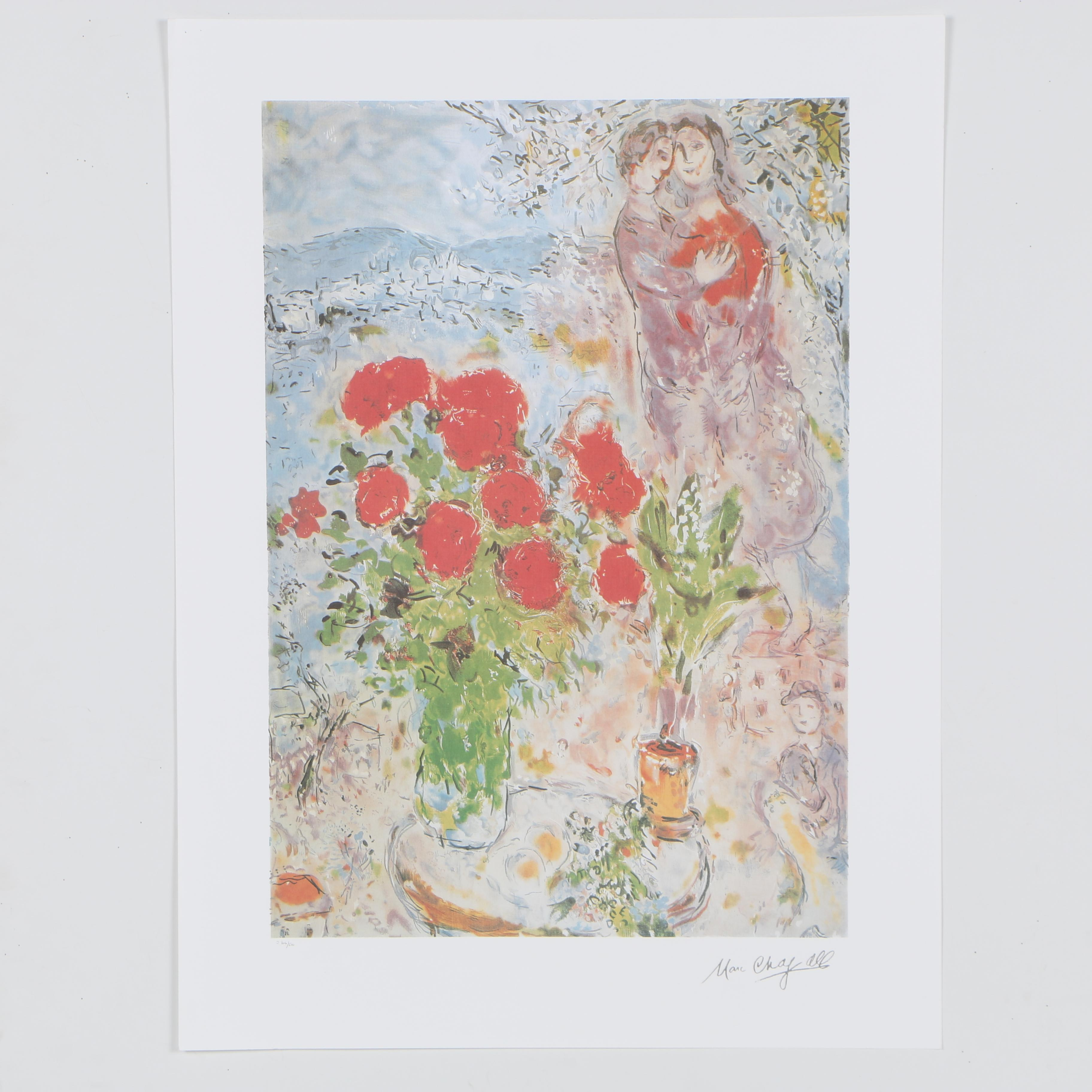 """2003 Offset Lithograph after Marc Chagall """"Red Bouquet with Lovers"""""""