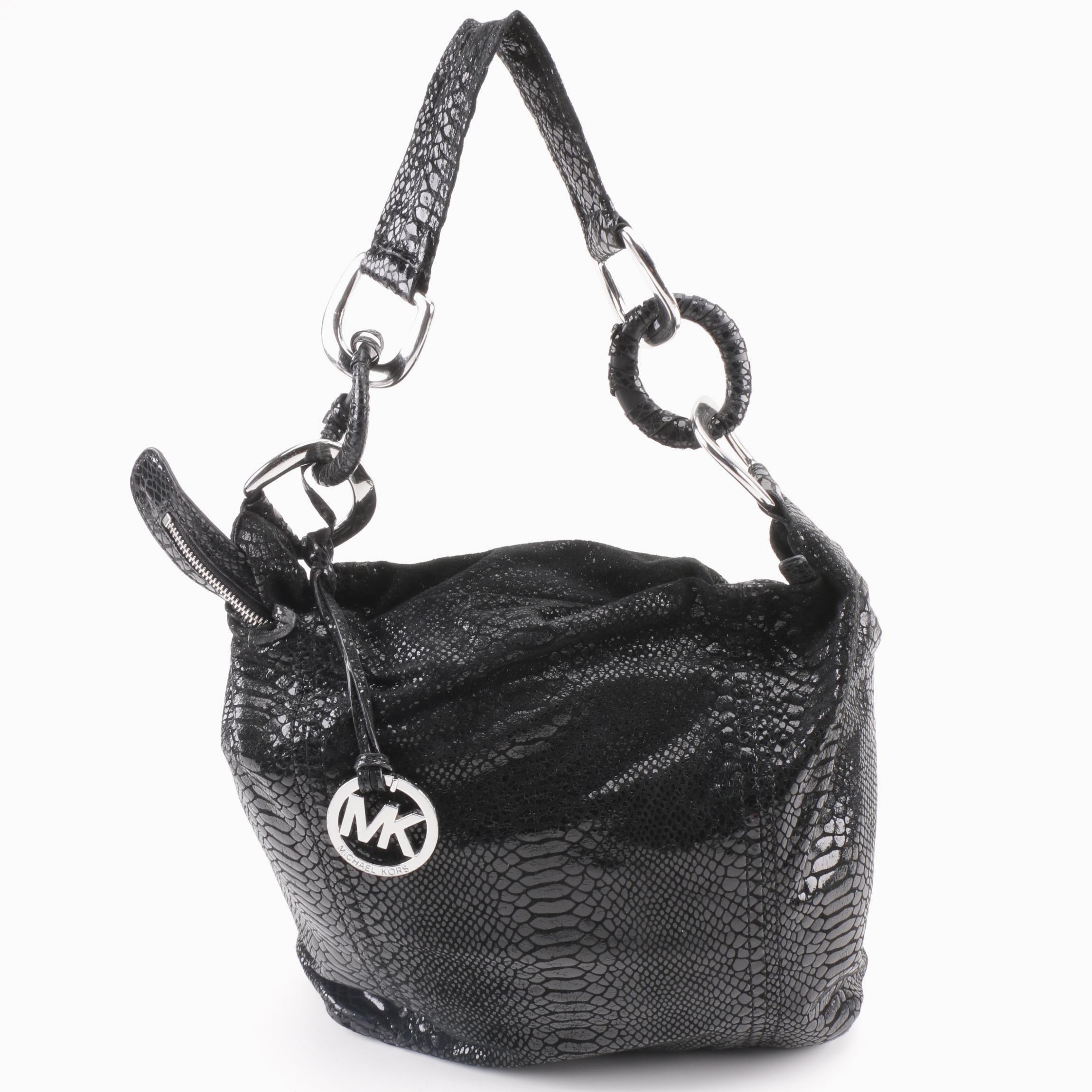 MICHAEL Michael Kors Black Reptile Print Hobo Bag