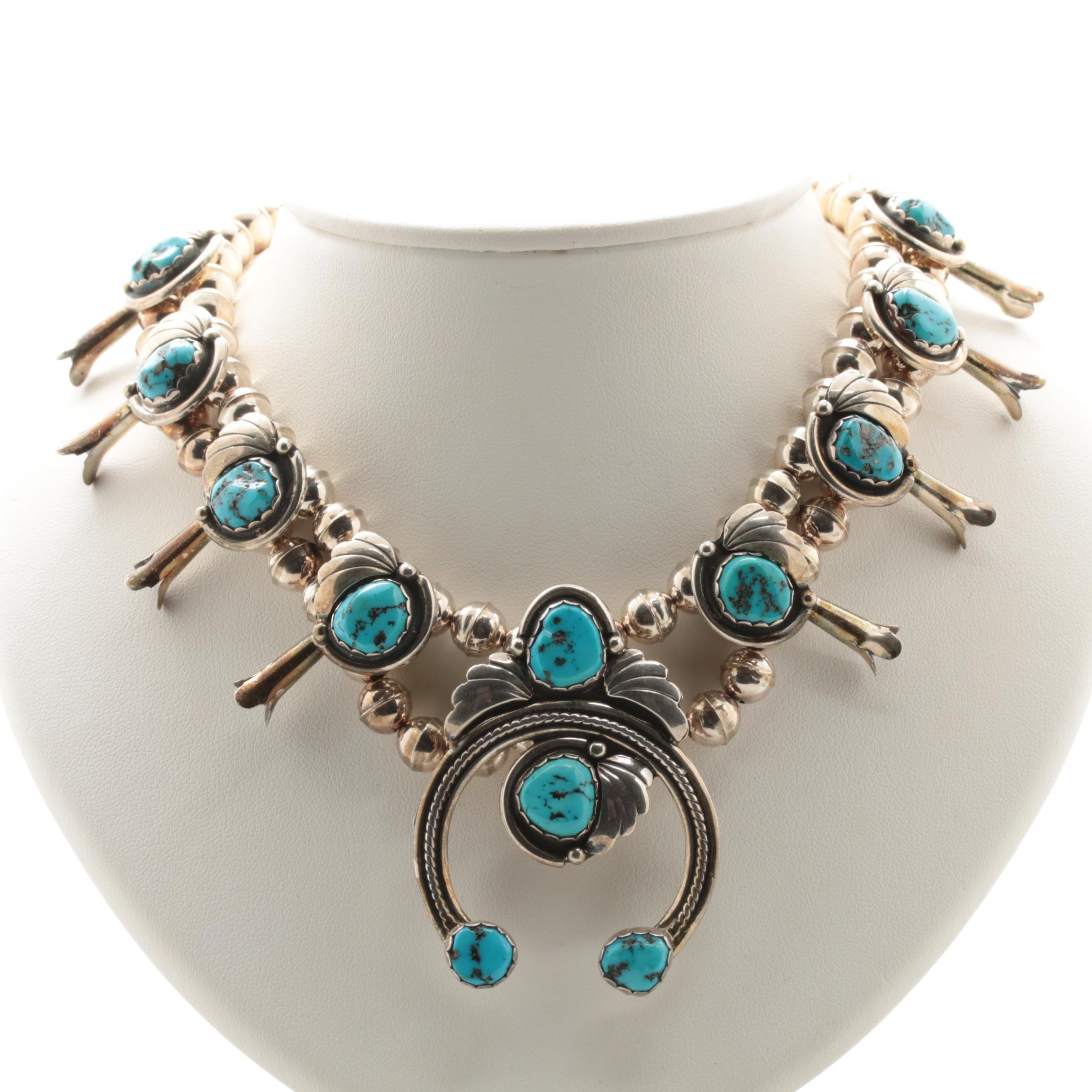 Southwestern Style Sterling Silver Turquoise Squash Blossom Necklace