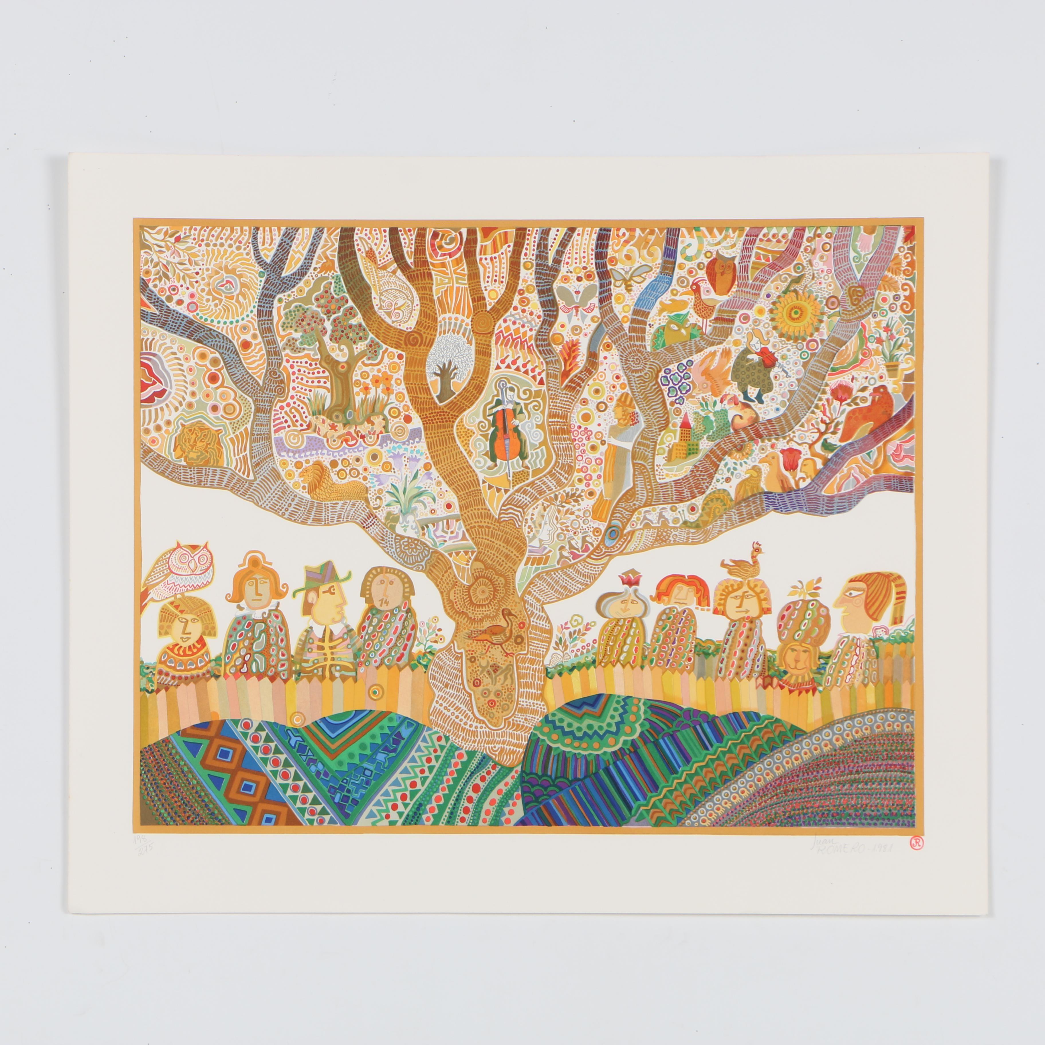 """Juan Romero Color 1981 Lithograph """"Conservation Sous un Noyer"""""""