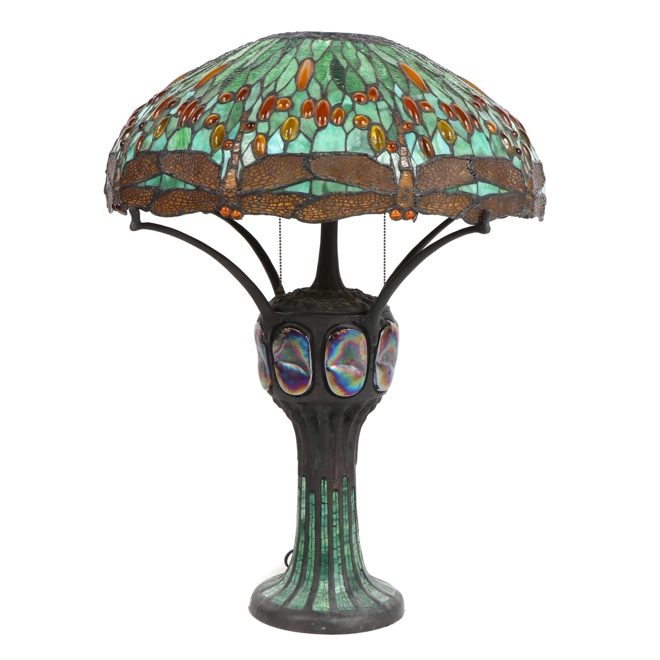 JSW Studios Leaded Glass, Mosaic and Patinated Metal Dragonfly Table Lamp