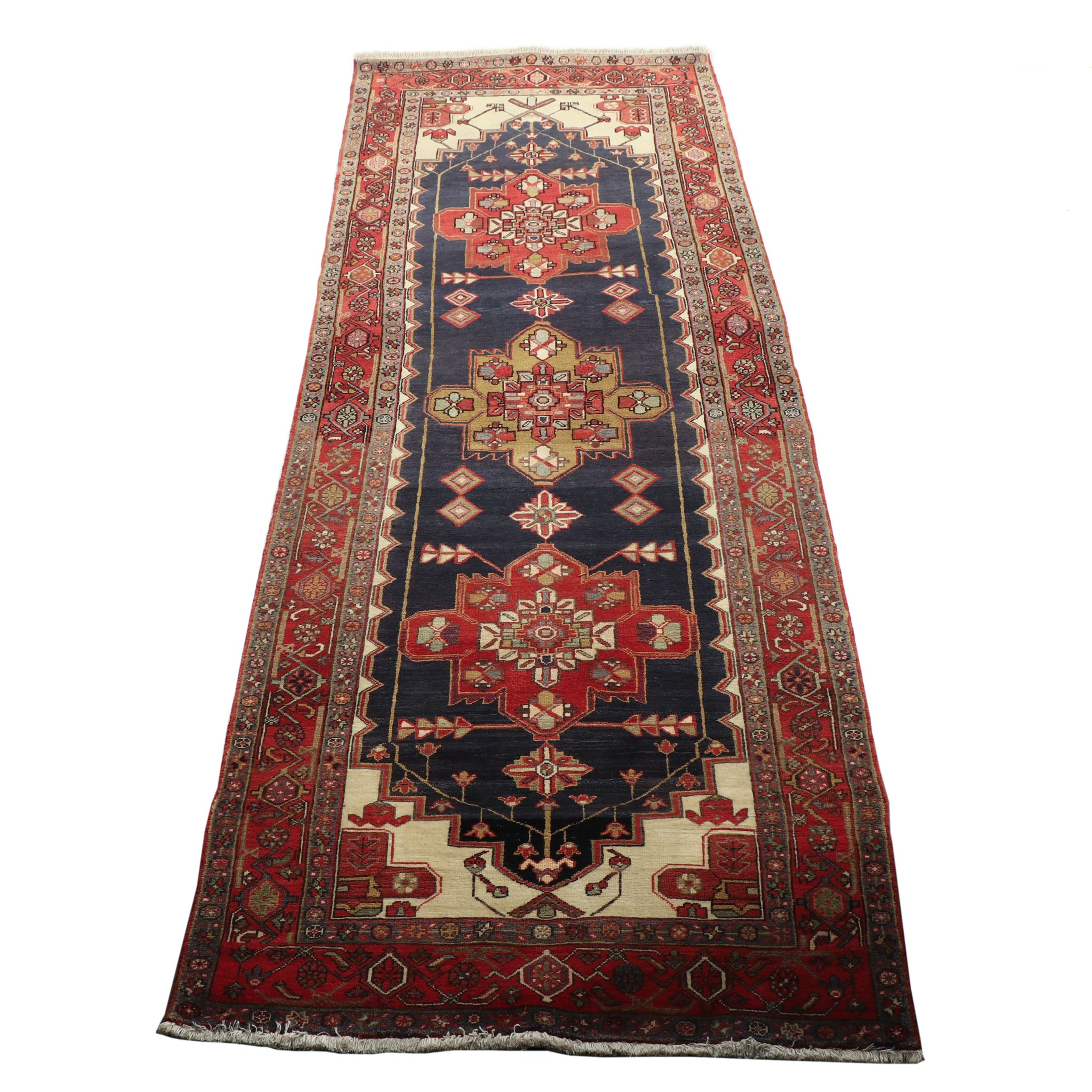 Hand-Knotted Persian Heriz Wool Long Rug