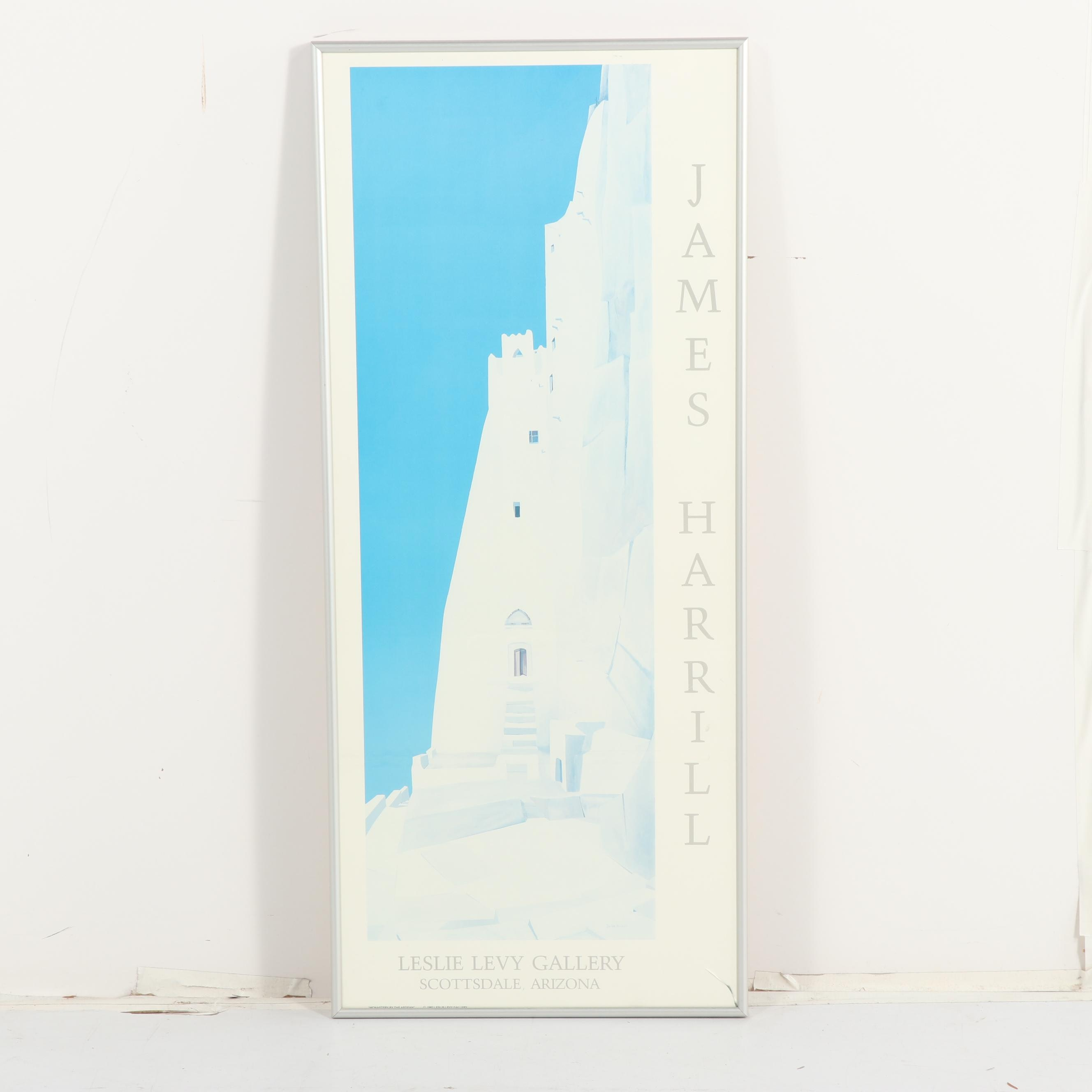 "Offset Lithograph Poster after James Harrill ""Monastery By The Aegean"""
