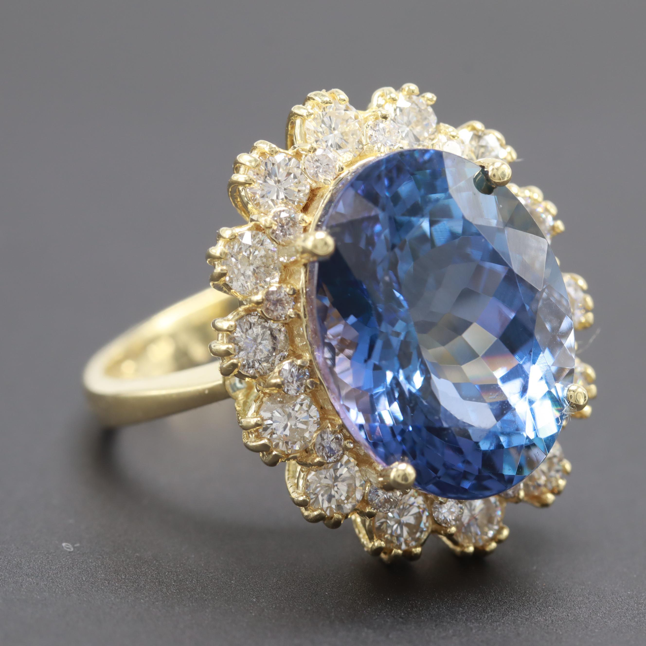 18K Yellow Gold 9.88 CT Tanzanite and 1.35 CTW Diamond Ring