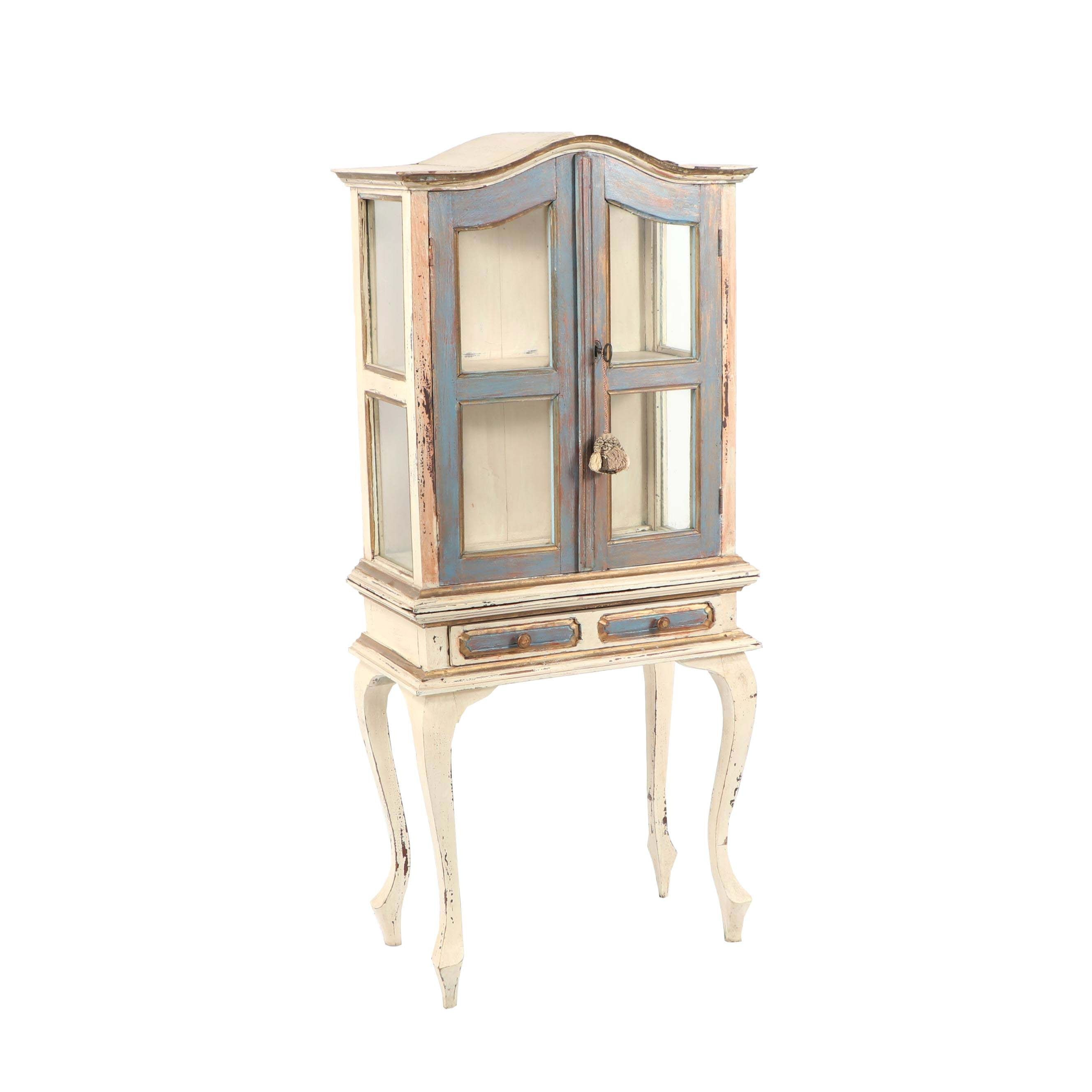 French Provincial Style Painted Wood Display Cabinet, Late 20th Century