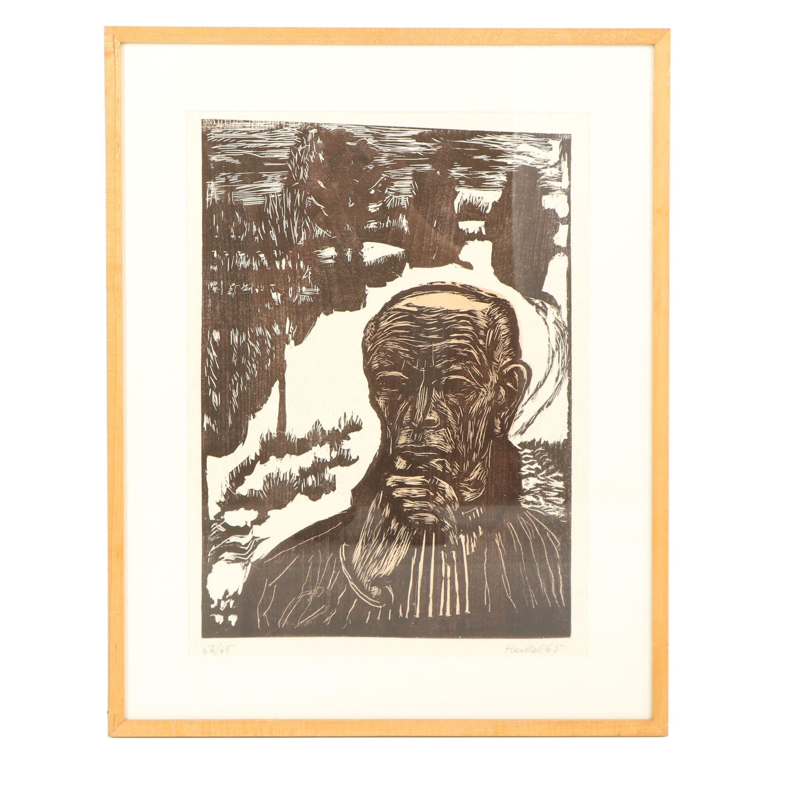 "Erich Heckel Color Woodcut ""Bildnis (Selbst in Winterlandschaft)"""