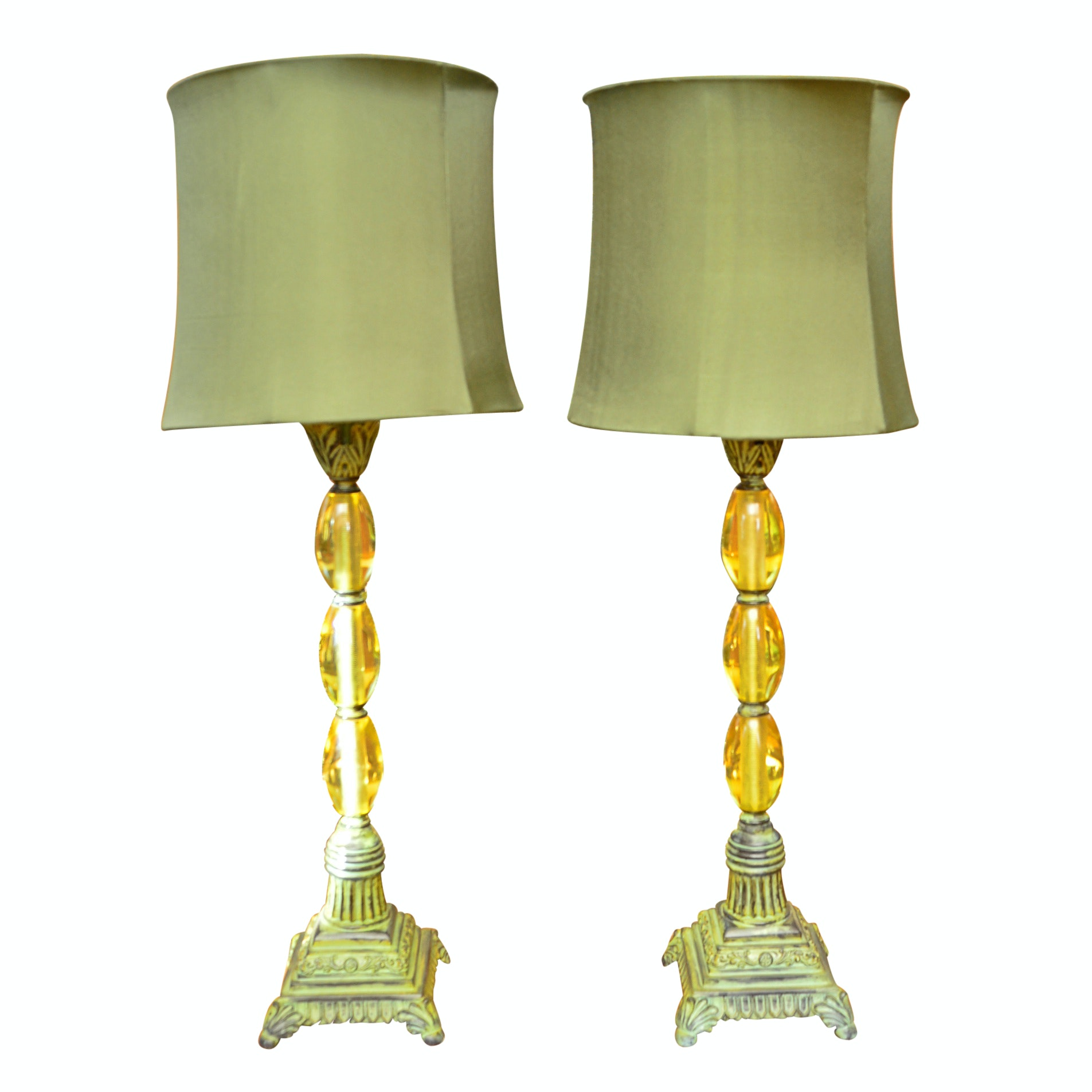 Pair Of Baroque Style Olive Glass Lamps Ebth