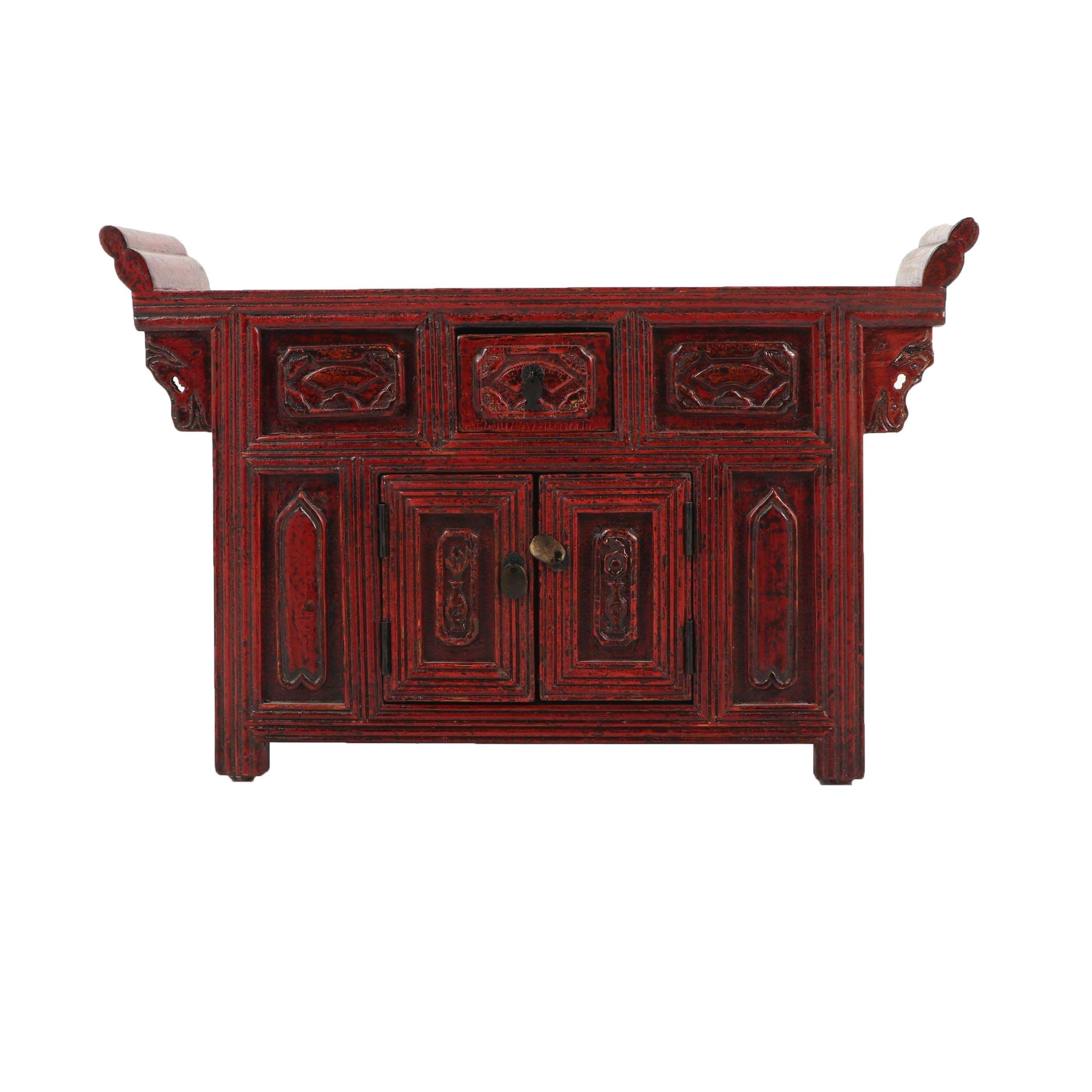 Chinese Red Lacquered Elm Altar Stand, Mid-19th Century
