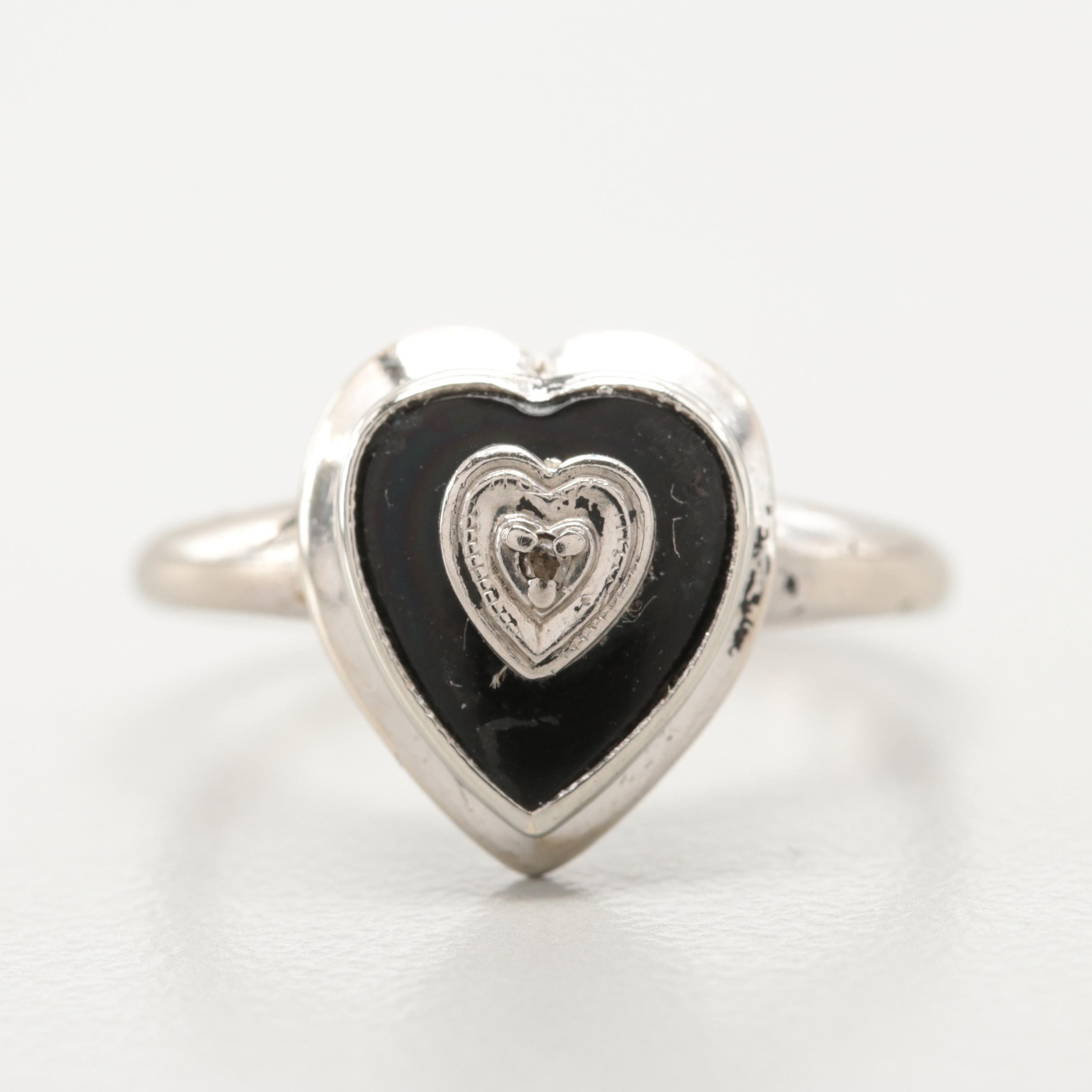 10K White Gold Diamond and Black Onyx Heart Ring with Palladium Accent