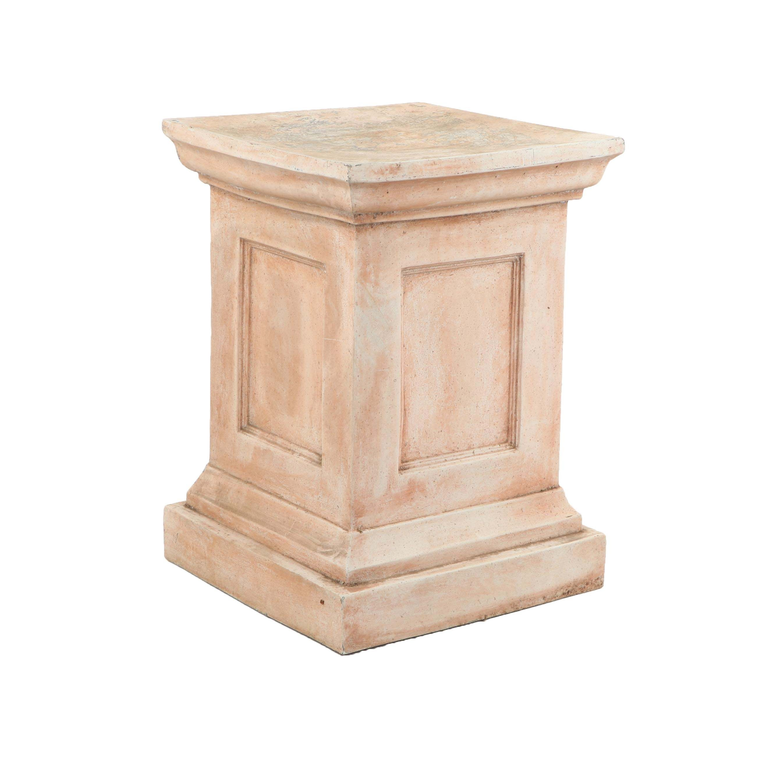 Contemporary Distressed Finish Resin Pedestal Stand
