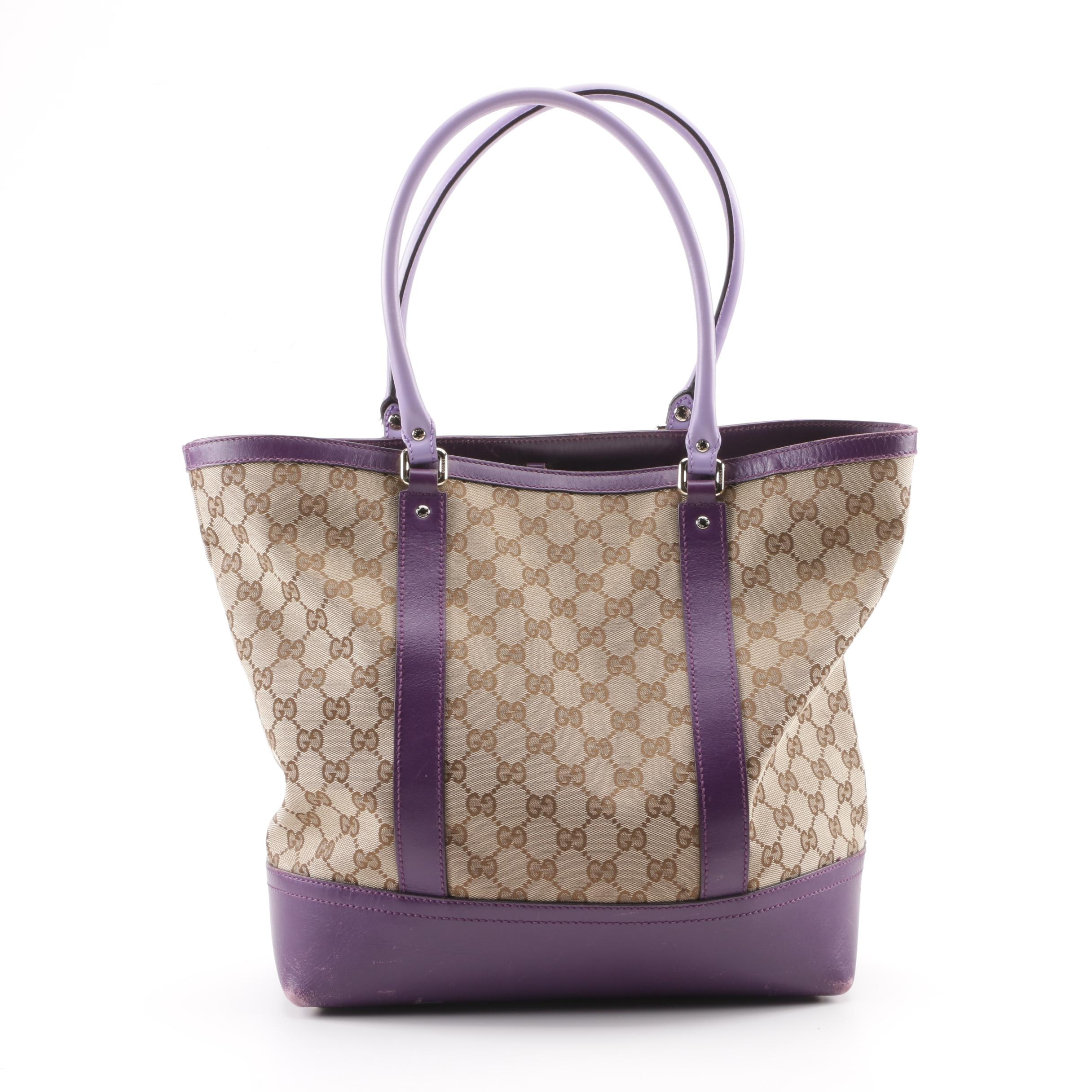 Gucci GG Canvas Tote with Purple Leather Trim