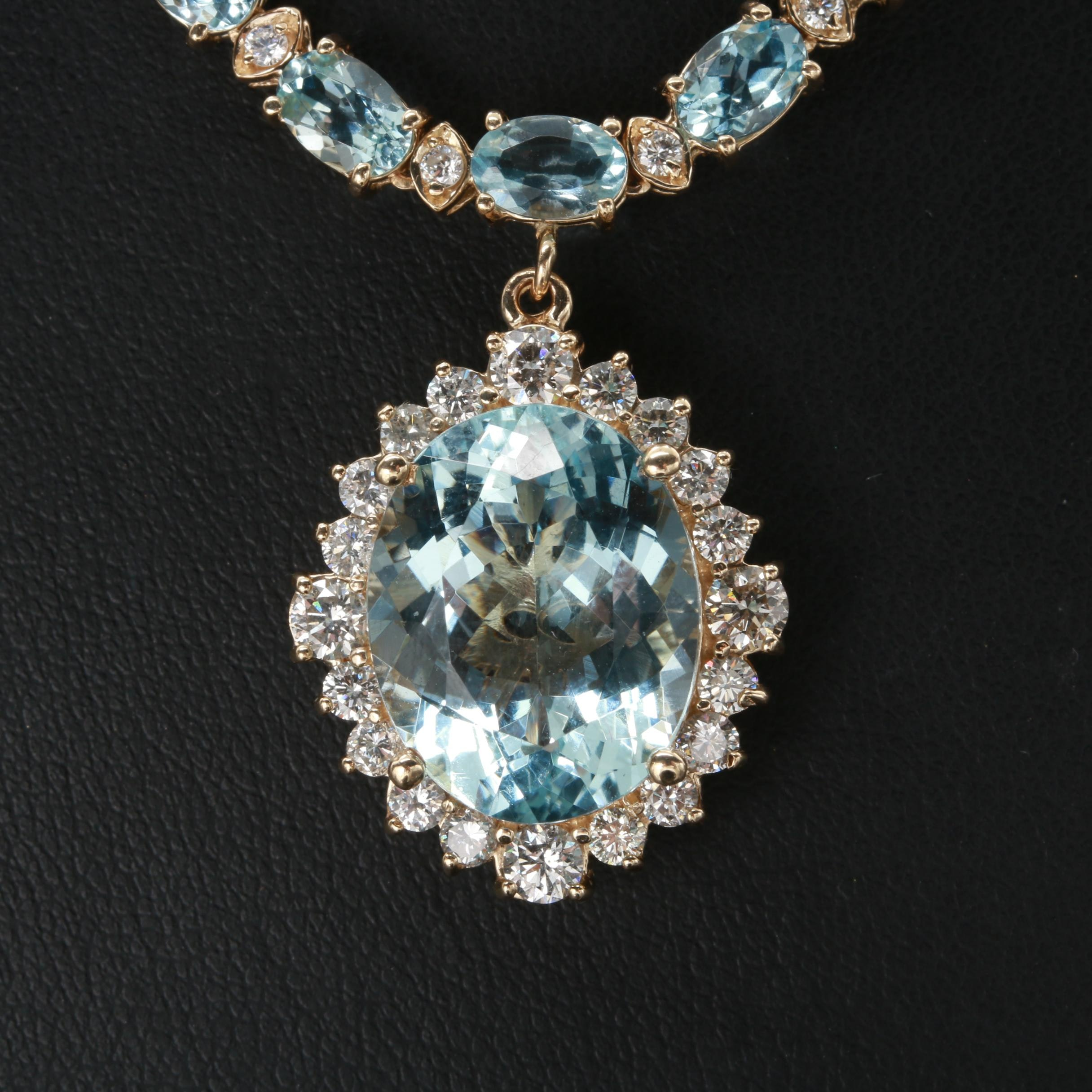 14K Yellow Gold 9.30 CT Aquamarine and 2.52 CTW Diamond Necklace