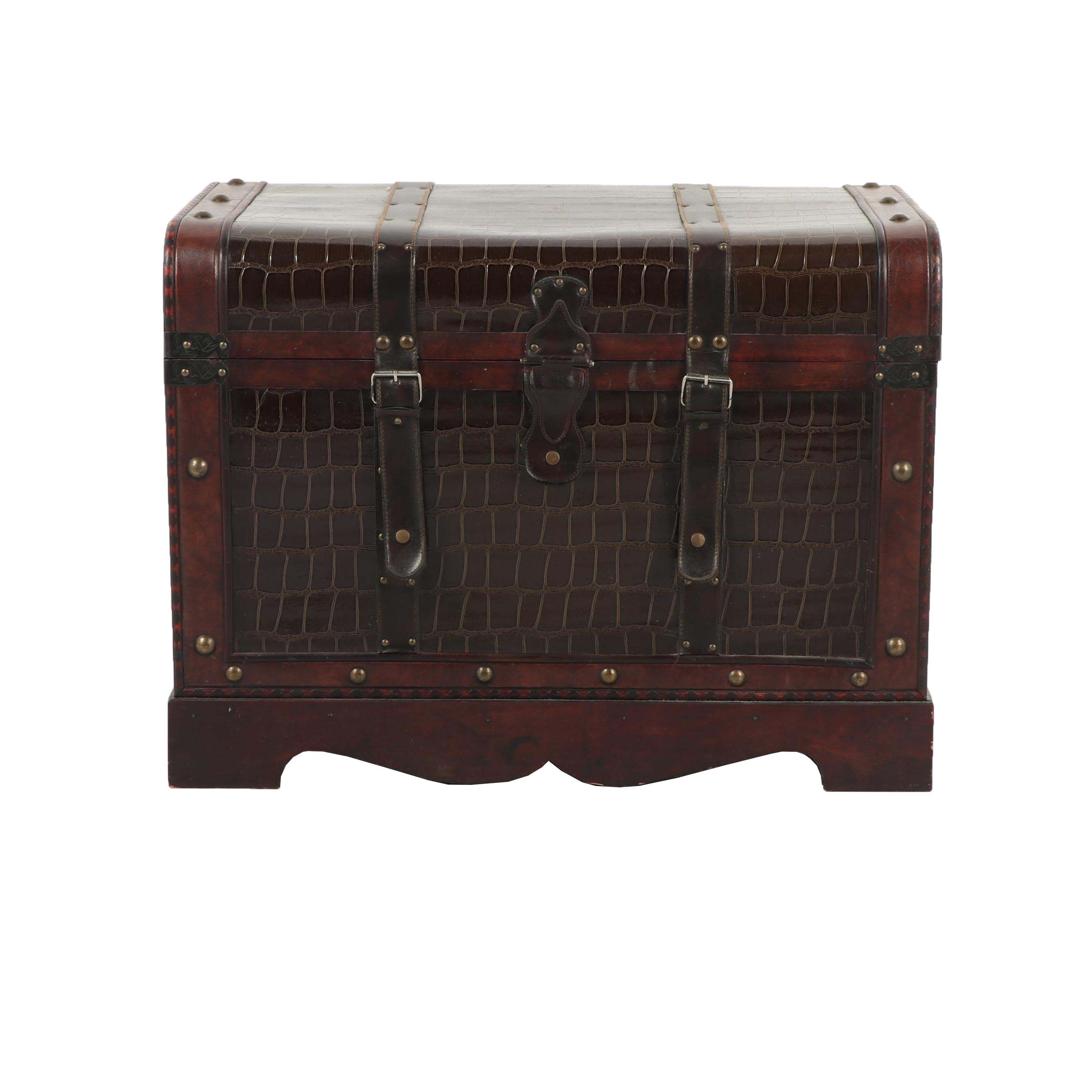 Contemporary Wood and Faux Leather Storage Trunk