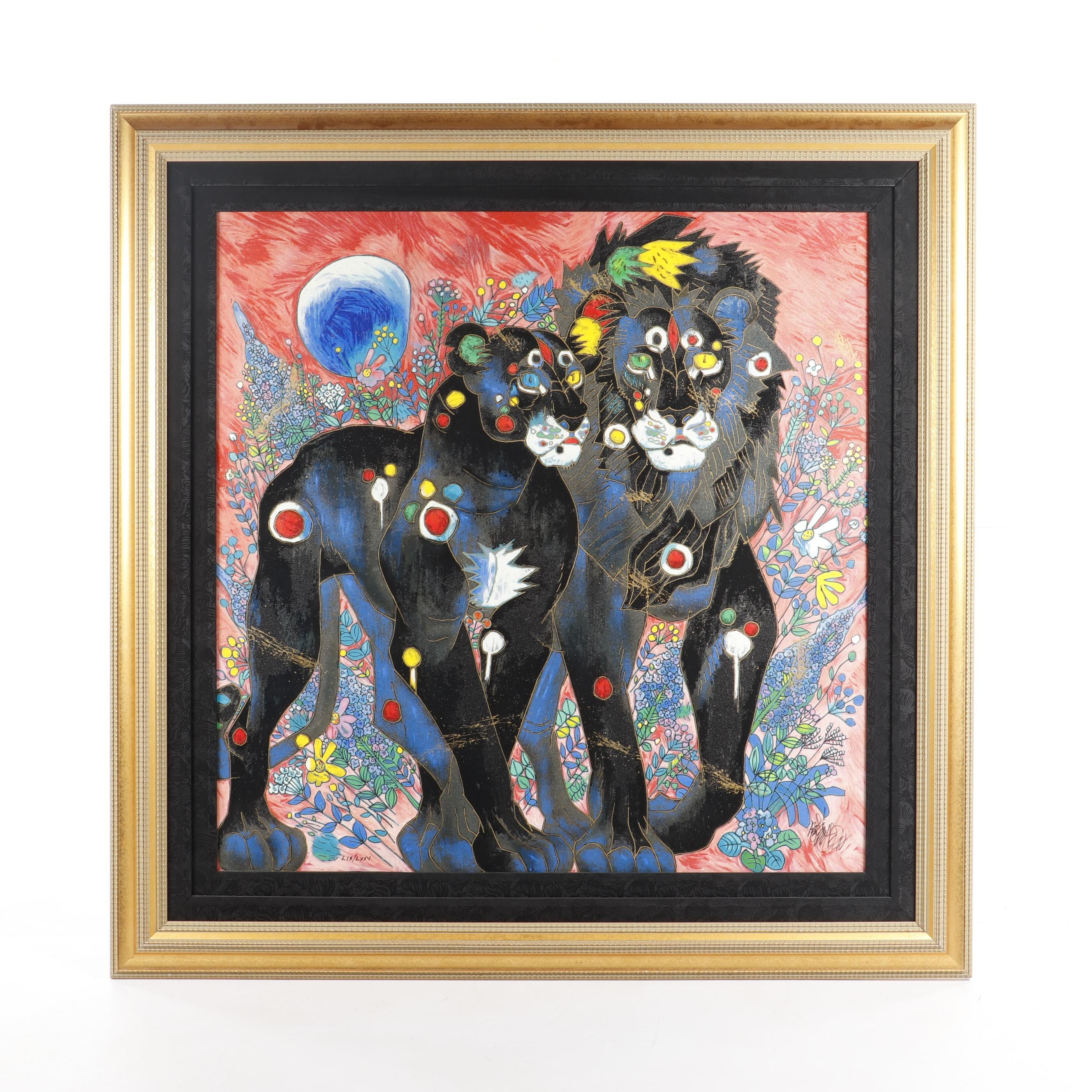 Tiefeng Jiang Embellished Serigraph on Canvas