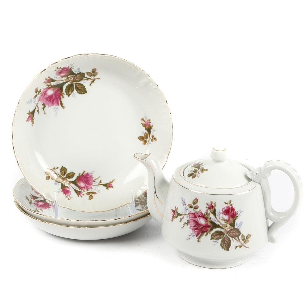 "Vintage Fine China of Japan ""Royal Rose"" Teapot and Soup Bowls"