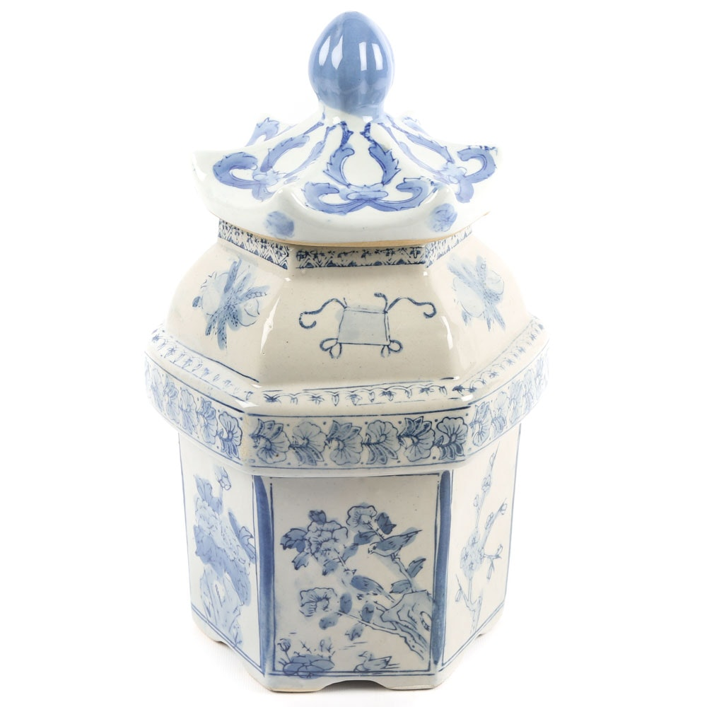 Blue and White Asian Inspired Canister