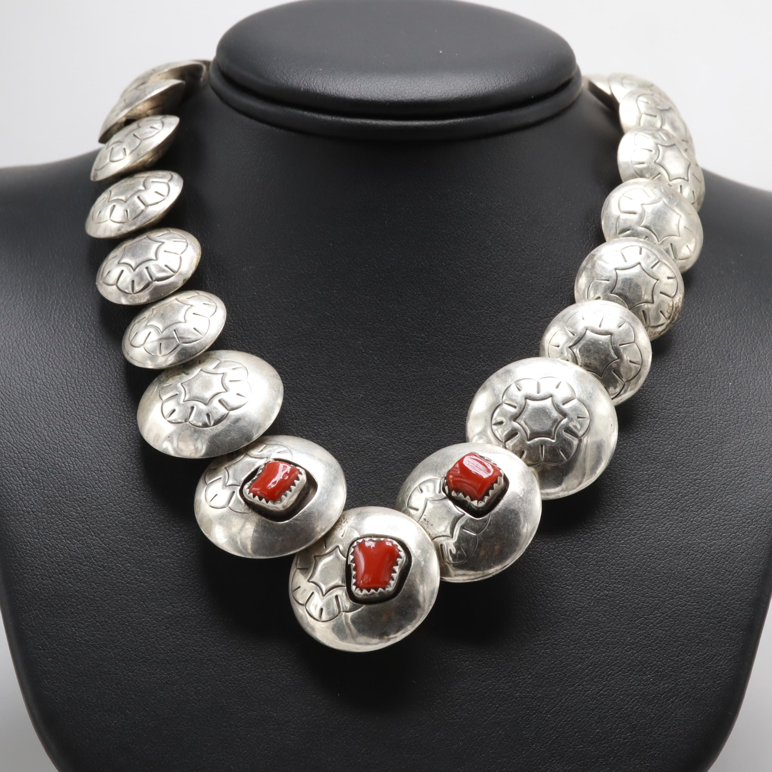 Southwestern Style Sterling Silver Coral and Turquoise  Concho Necklace