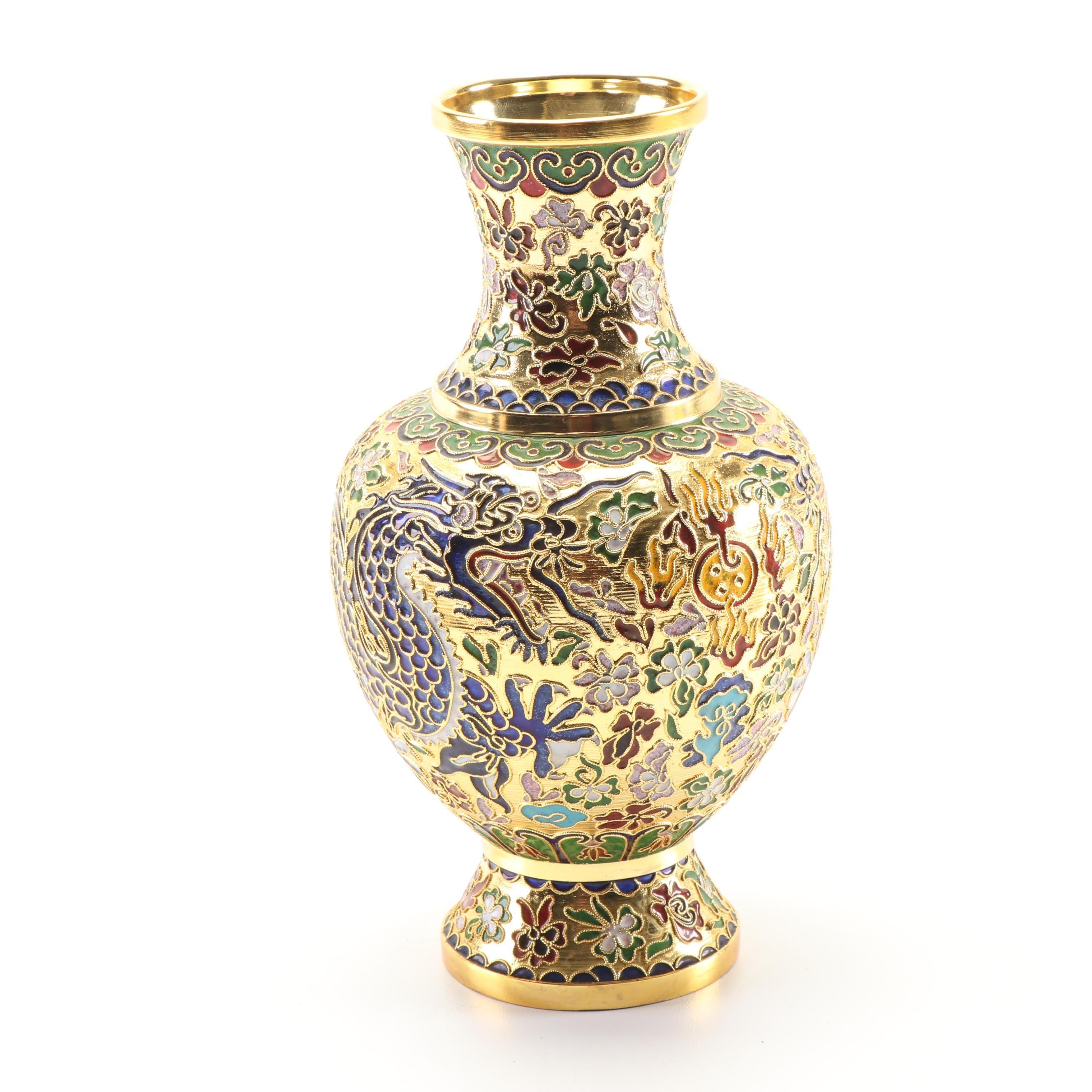 Chinese Cloisonné Dragon Vase