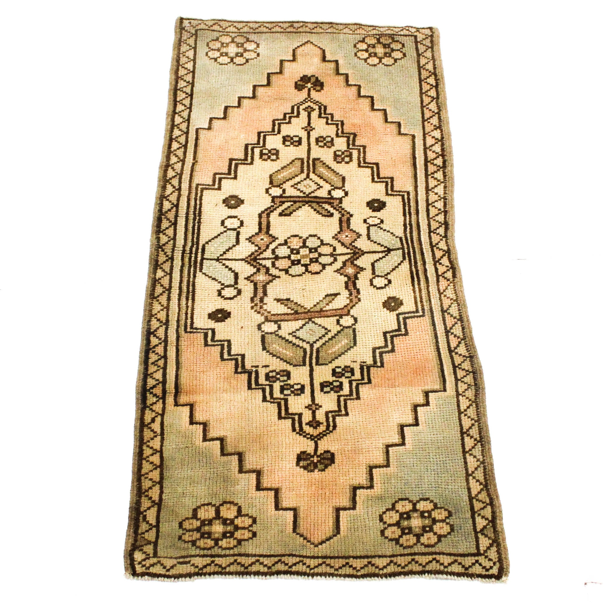 1'9 x 4' Antique Hand-Knotted Turkish Oushak Rug