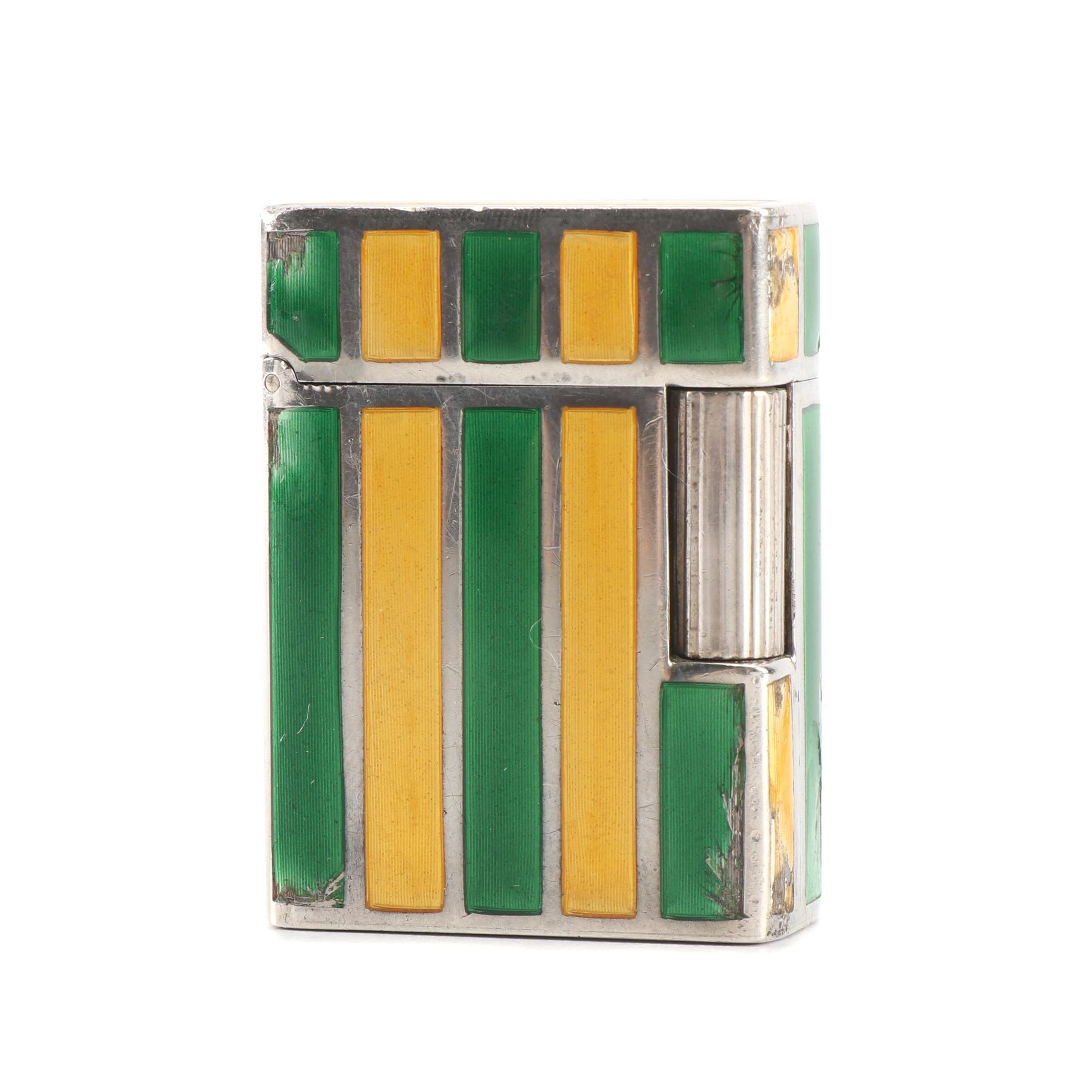 Gucci Green and Gold Enamel and Silver Lighter, Marked Gucci, Italy 925