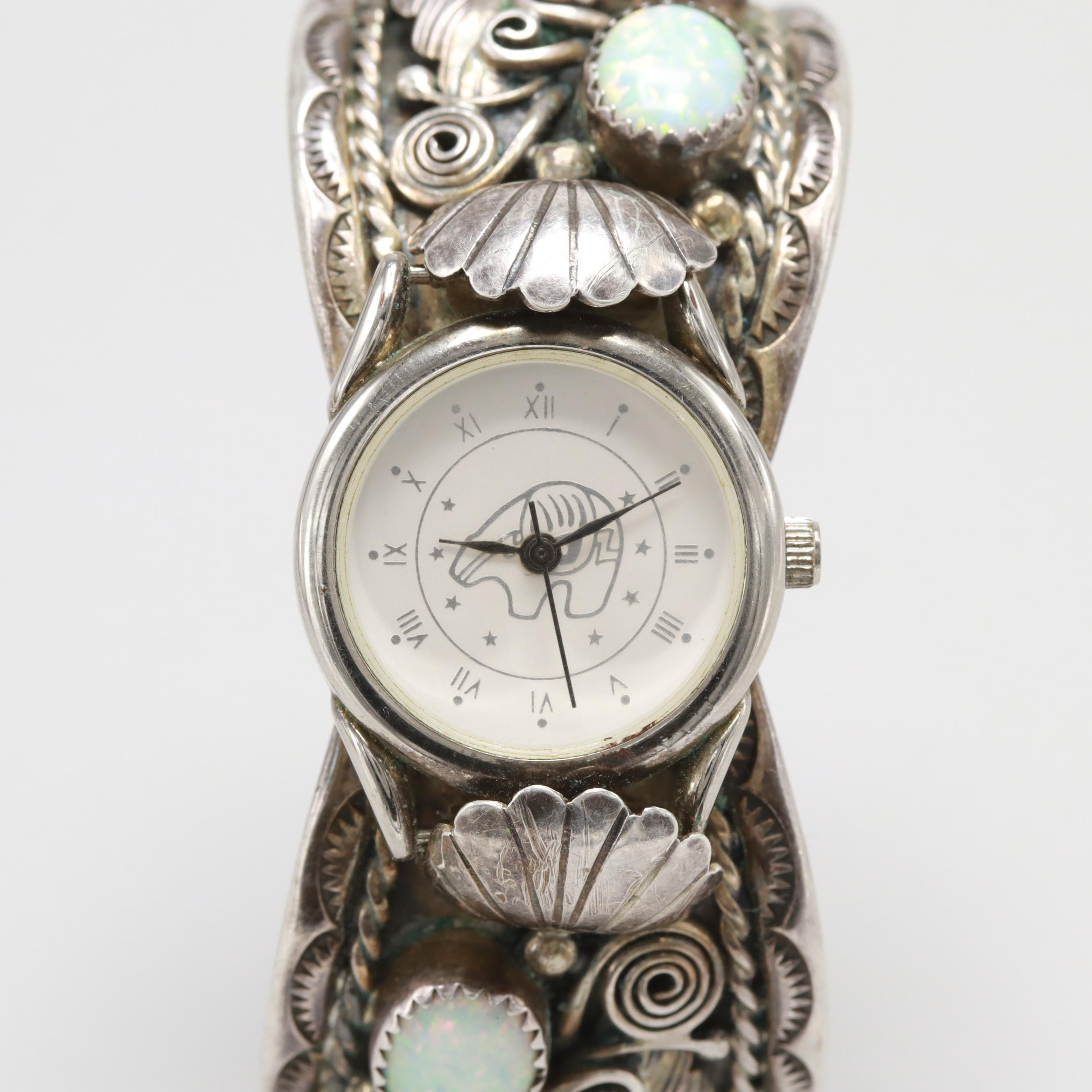 Navajo Diné Quartz Wristwatch With Sterling Silver Synthetic Opal Cuff Bracelet