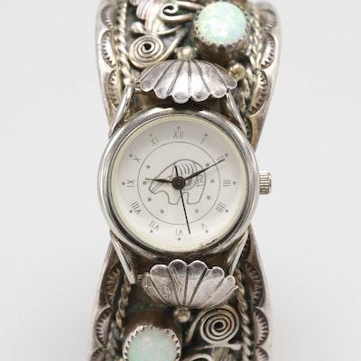 64da91782d74 Navajo Diné Quartz Wristwatch With Sterling Silver Synthetic Opal Cuff  Bracelet