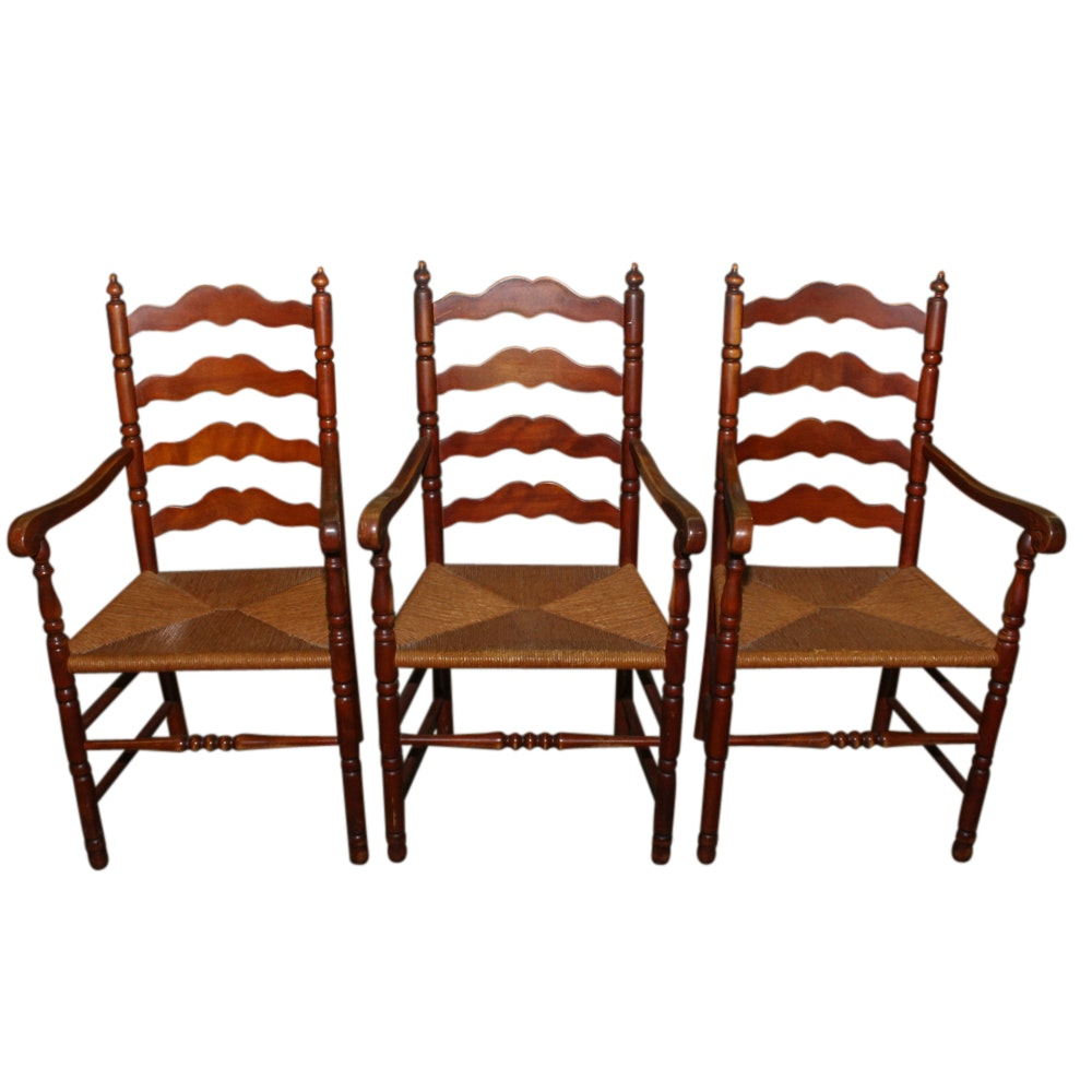 Three Maple Ladder Back Chairs, Mid-20th Century