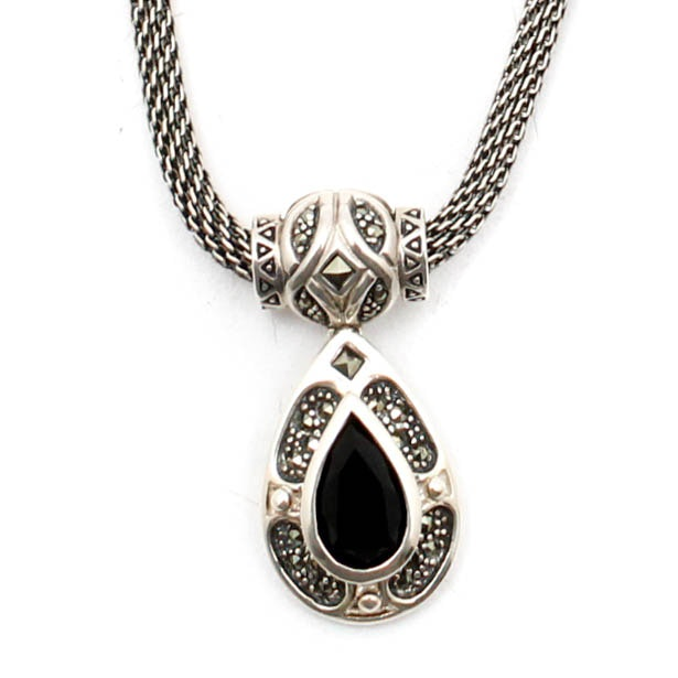 Sterling Silver Onyx Marcasite Pendant Necklace
