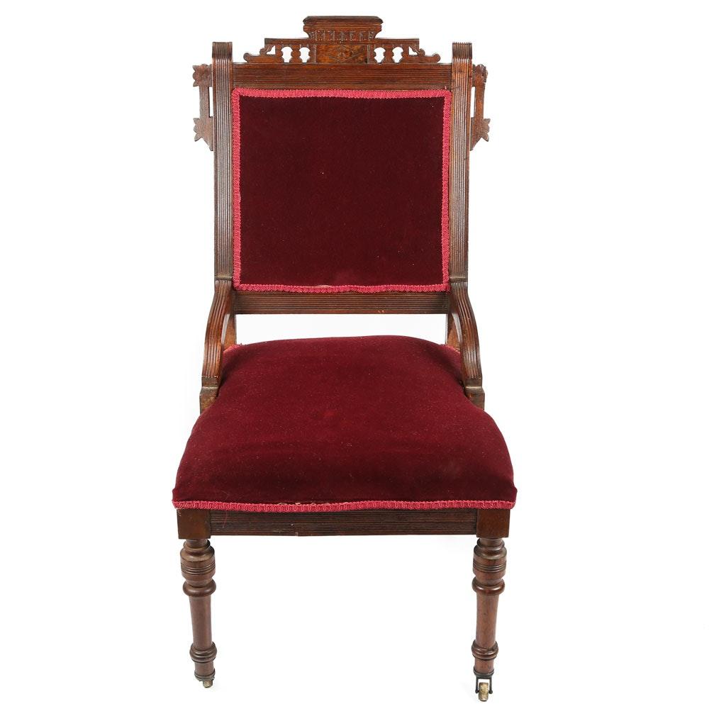 Antique Eastlake Walnut Vanity Chair