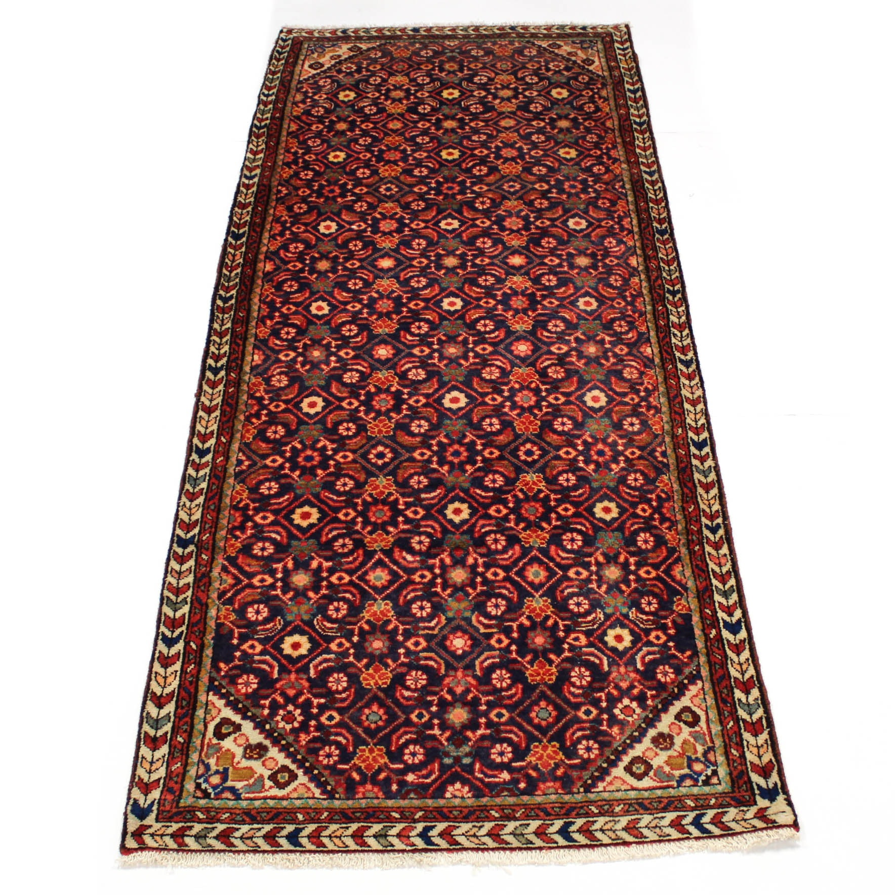 3'7 x 9'8 Semi-Antique Hand-Knotted Persian Mahal Carpet Runner