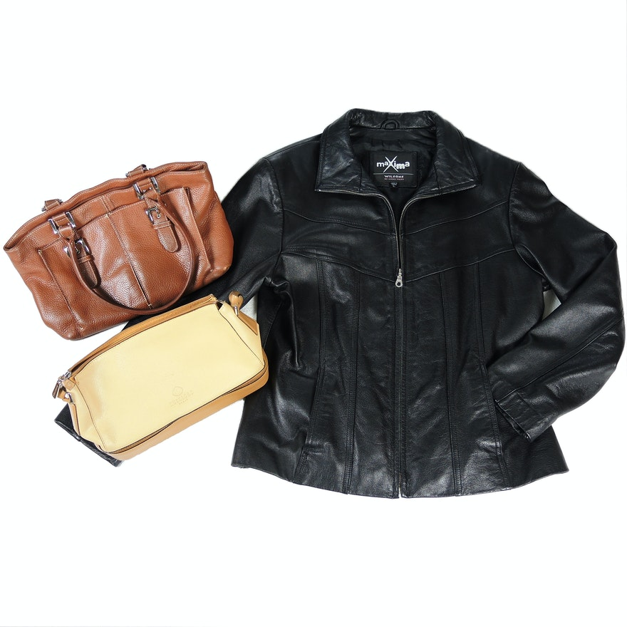Wilsons Black Leather Jacket With Kesslord Paris And Tignanello Handbags