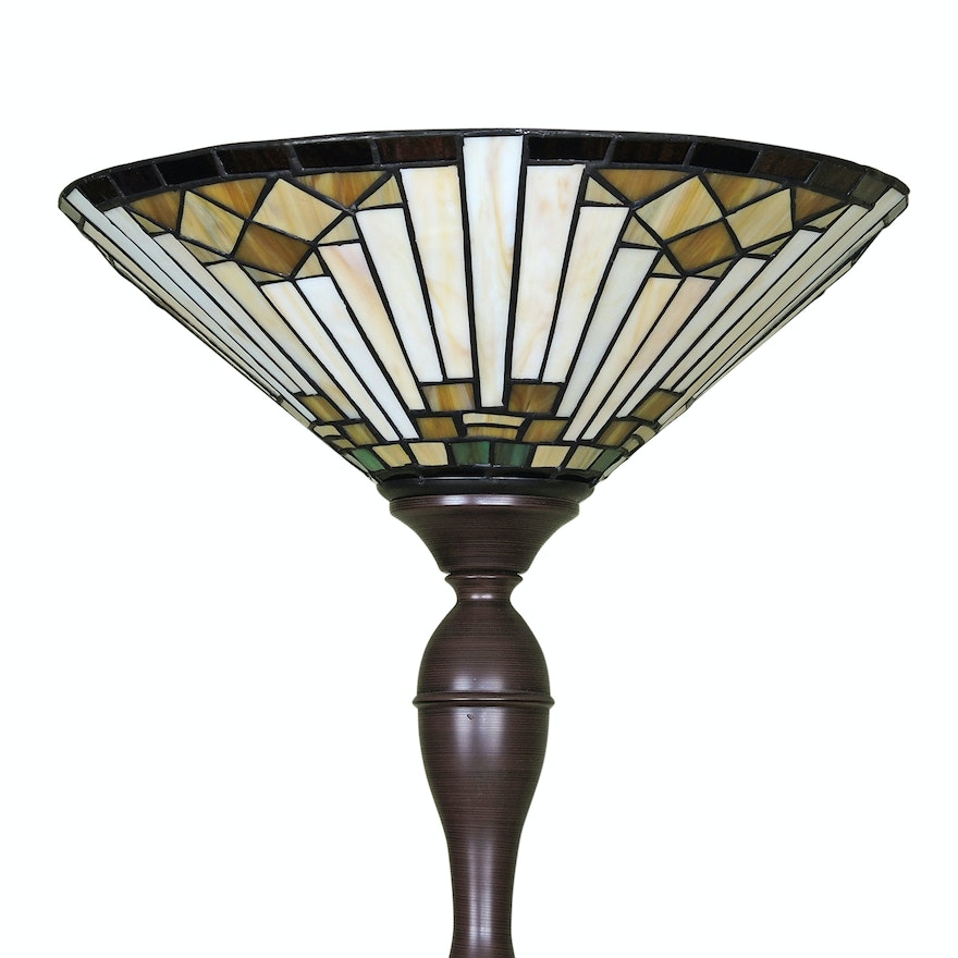 Arts And Crafts Style Slag Glass Torchiere Floor Lamp Ebth