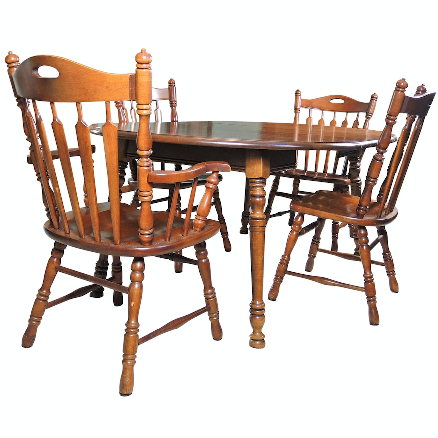 Vintage Table With Tell City Chair Company Arrow Back Chairs Ebth