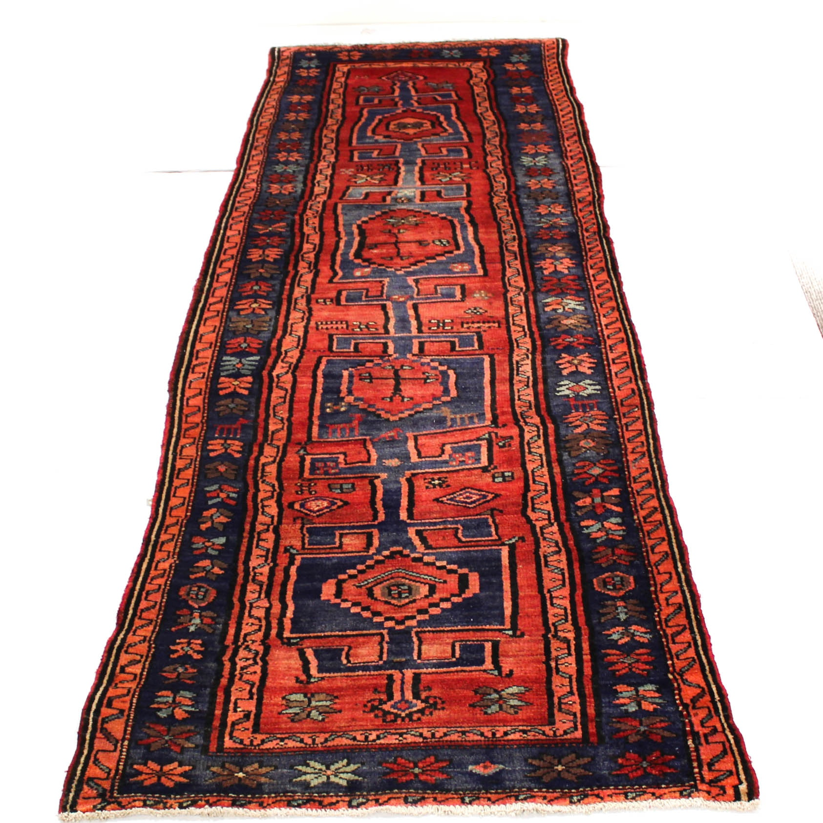 3'8 x 11'3 Semi-Antique Hand-Knotted Persian Northwest Pictorial Carpet Runner