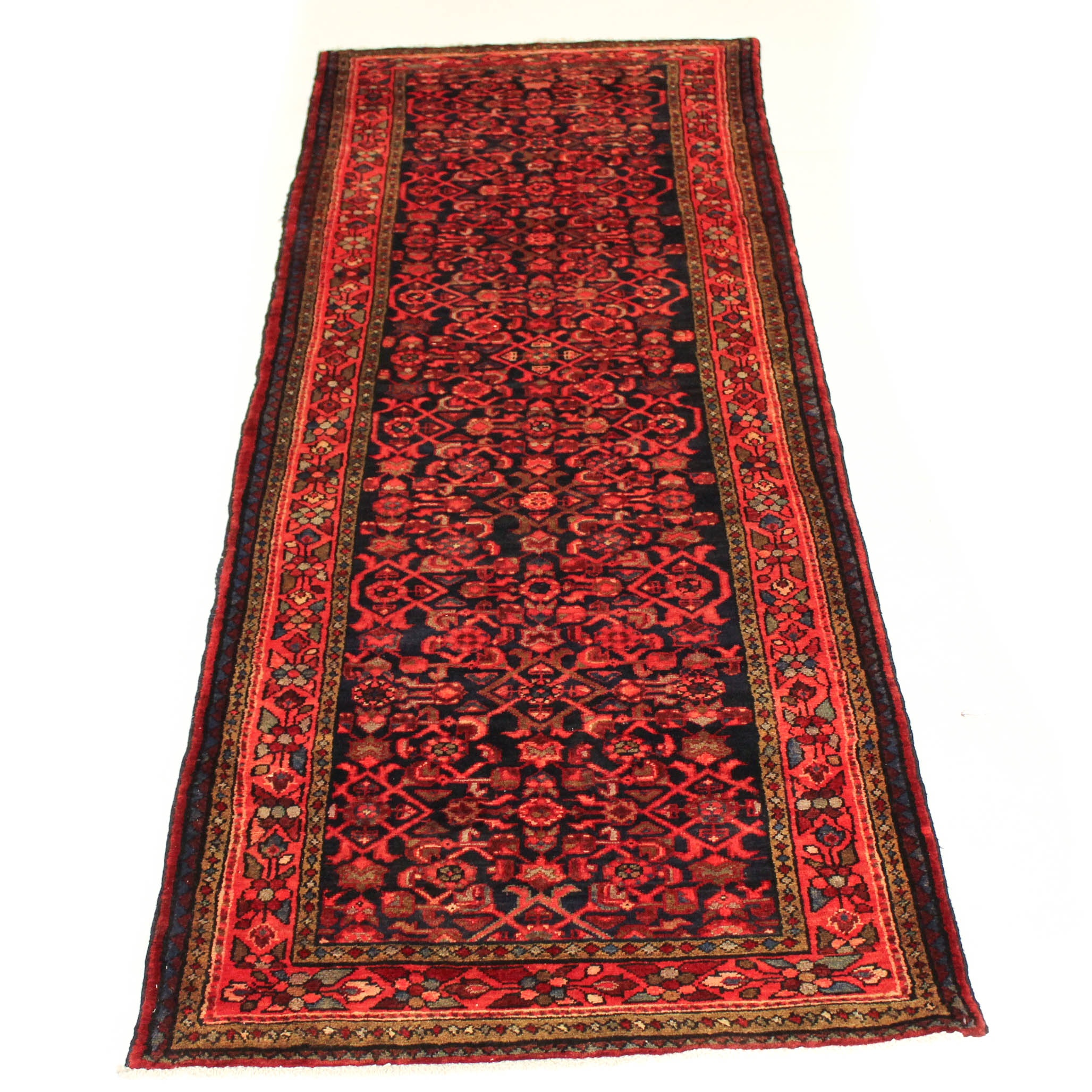 3'3 x 9'9 Semi-Antique Hand-Knotted Persian Mahal Carpet Runner