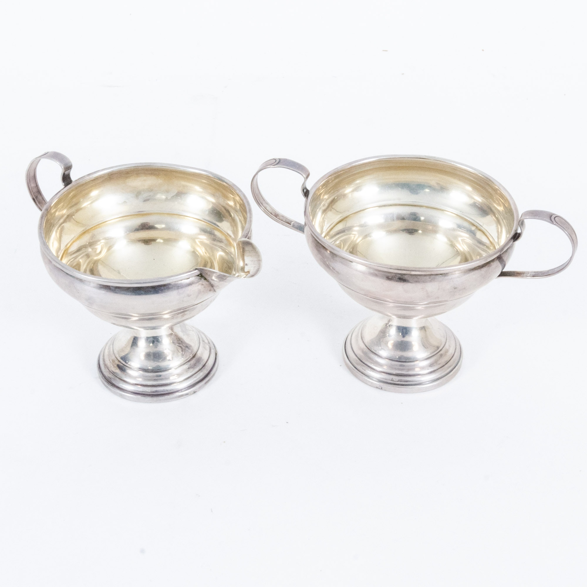 Elgin Silversmith Co. Weighted Sterling Silver Creamer and Sugar Bowl Pair