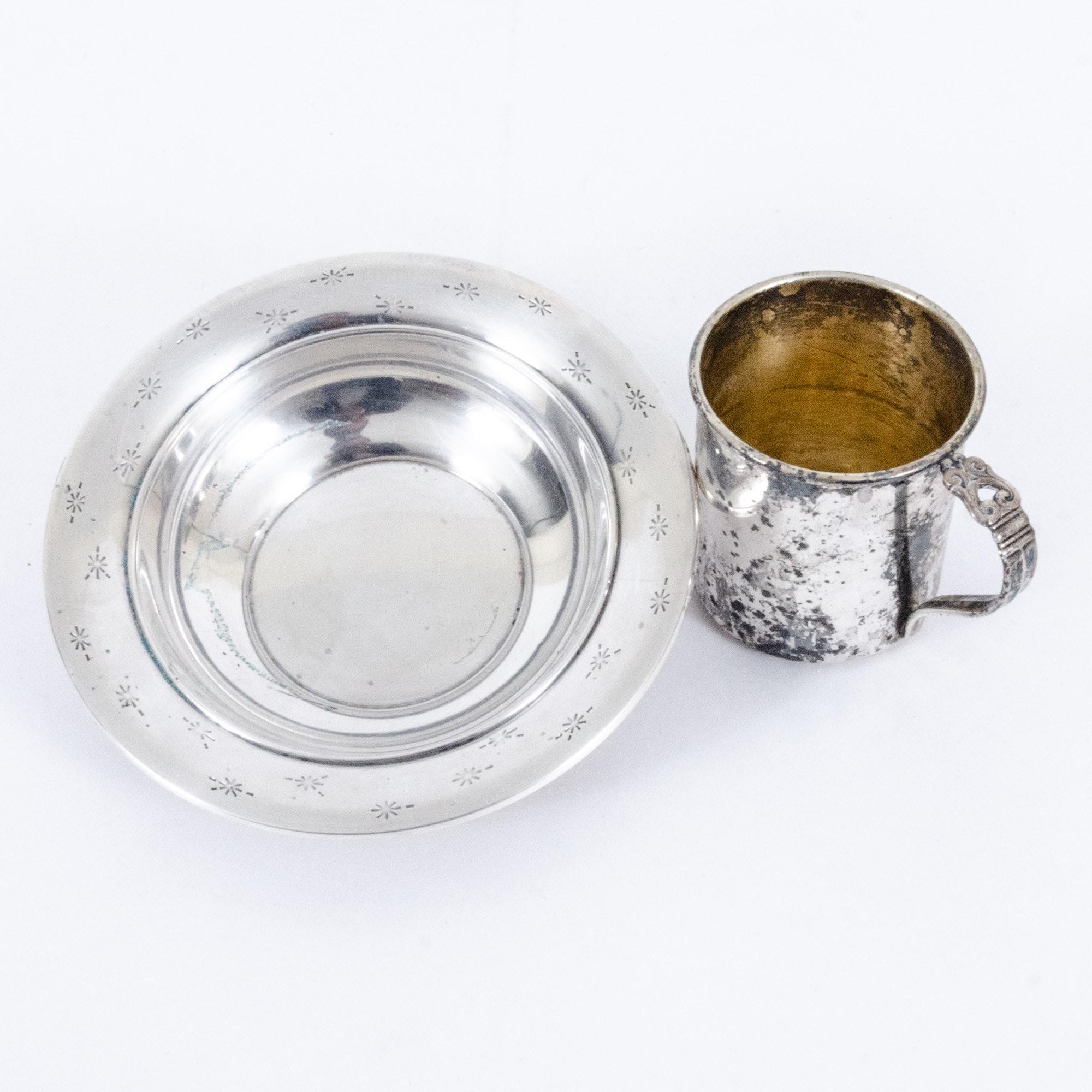 "Gorham ""Stardust"" Sterling Silver Bon Bon Bowl with International Silver Co. Mug"