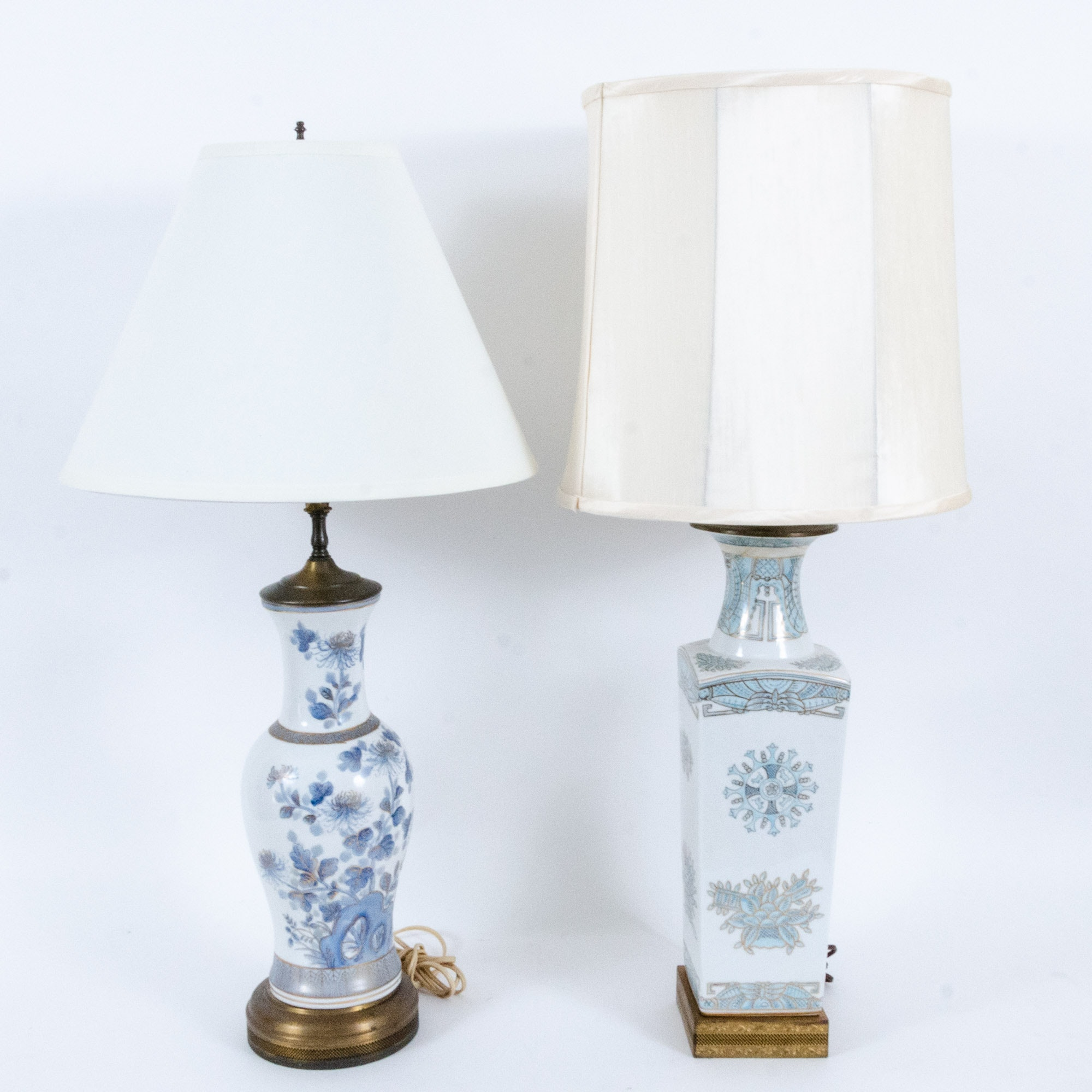 Hand Decorated Blue Floral Motif Table Lamps with Gilt Decoration